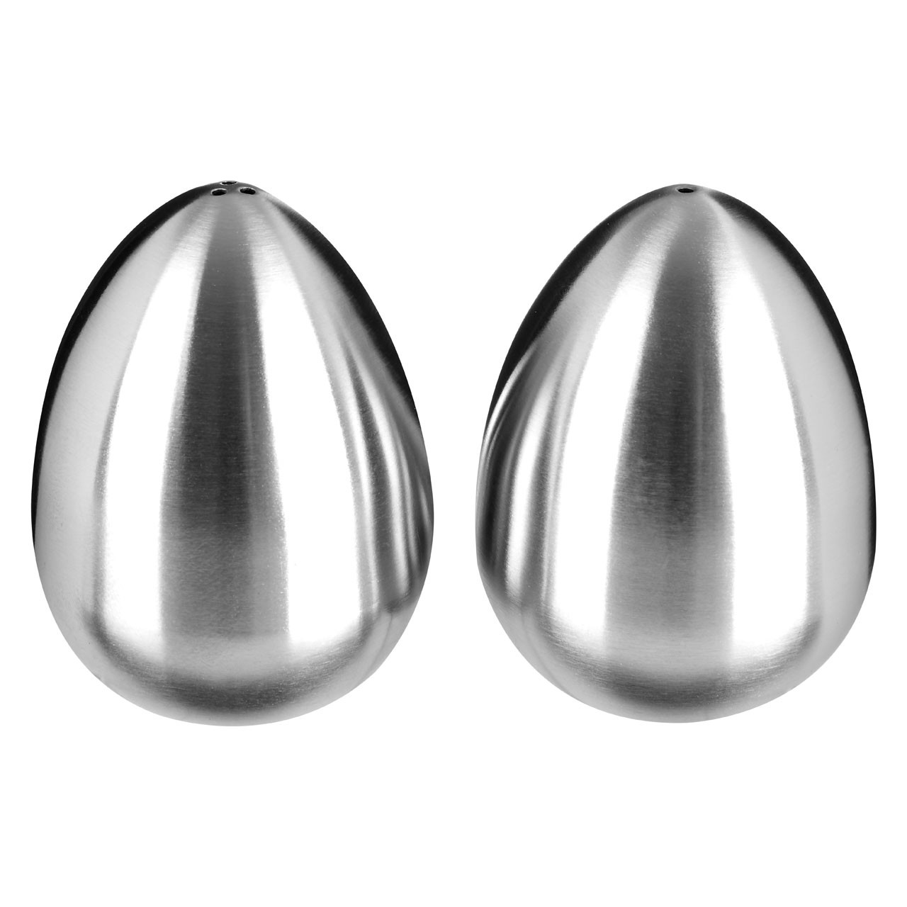 Egg Shaped Salt and Pepper Set, Stainless Steel