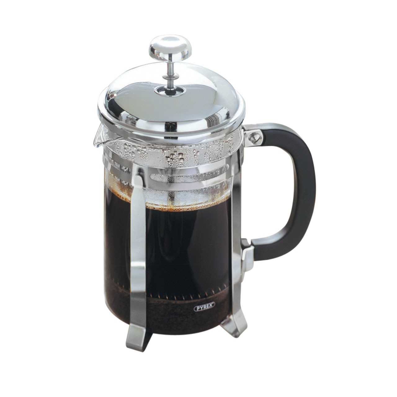 Cafetiere, Chrome/Pyrex Heat Resistant Glass Insert, 6 Cup/800ml