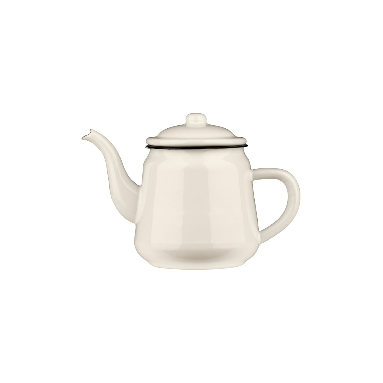 Teapot White Enamel/Dark Blue Rim 900ml