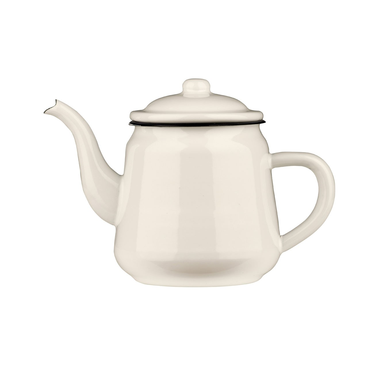 Teapot White Enamel/Dark Blue Rim 2200ml