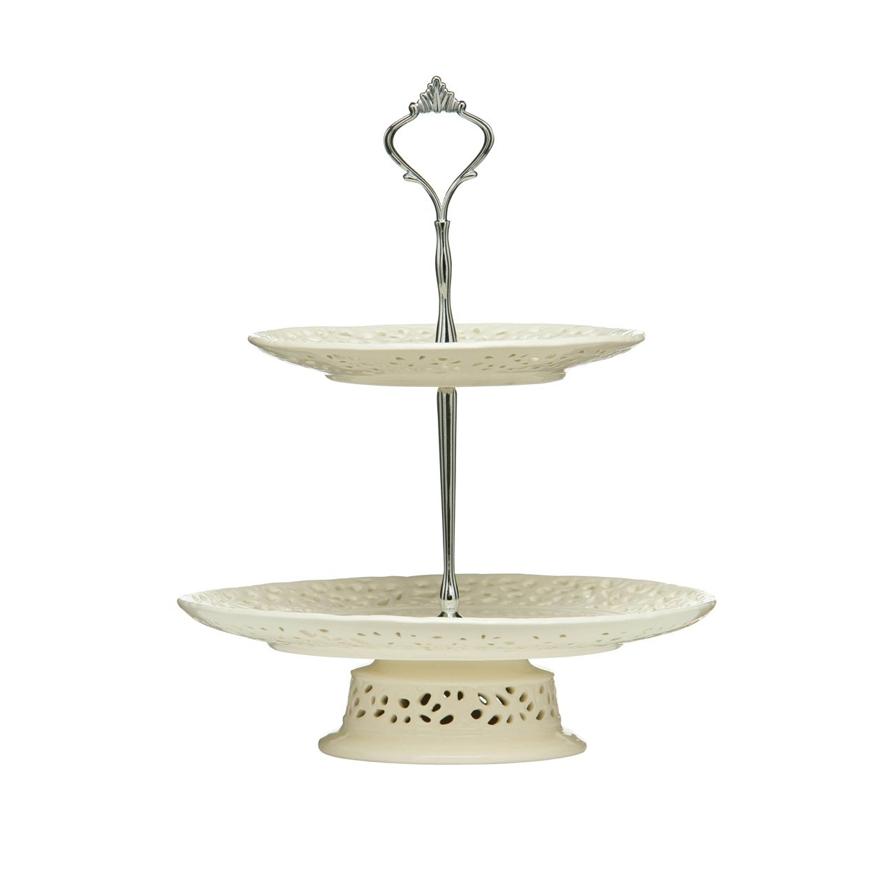 2-Tier Lace Cake Stand - Cream