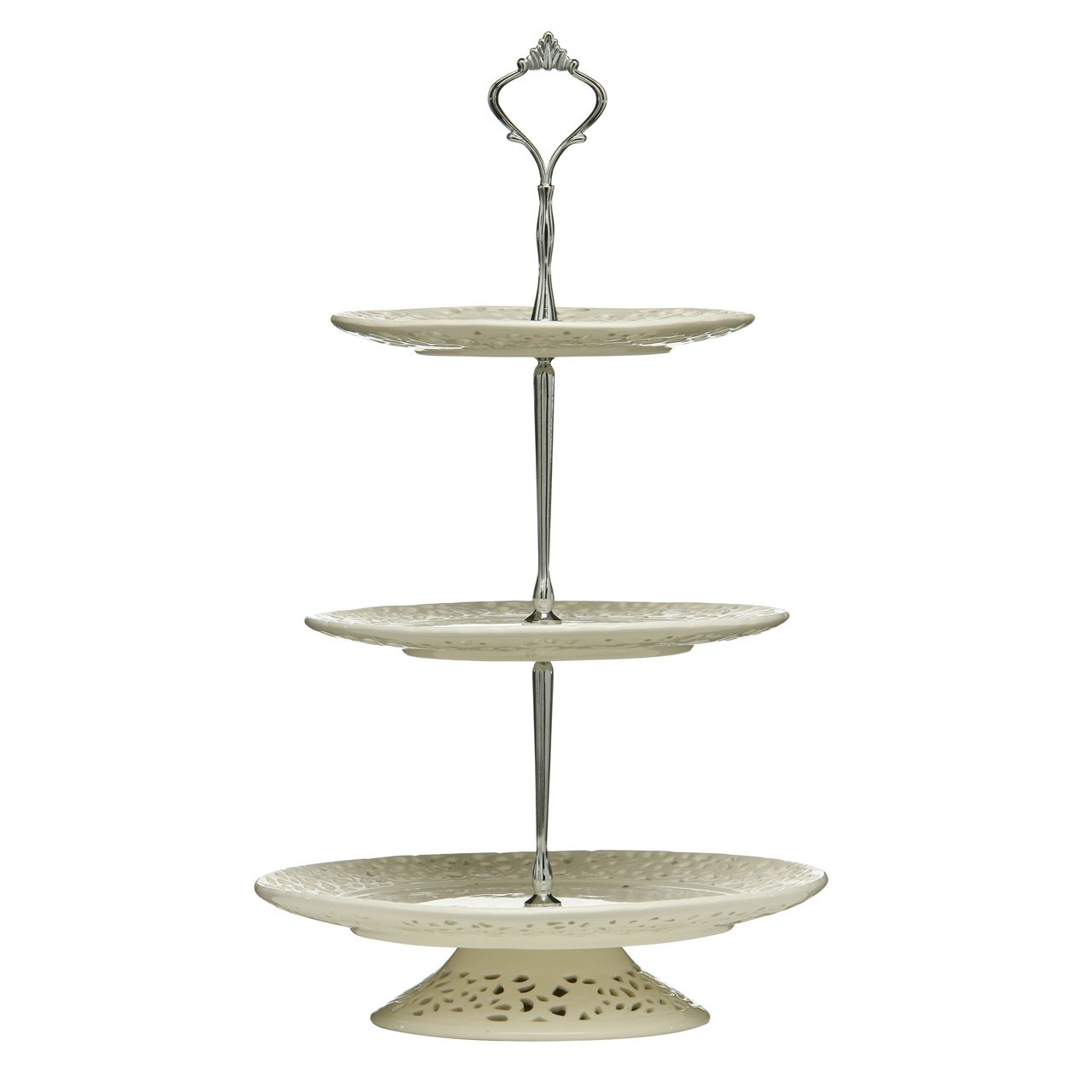 3 Tier Lace Cake Stand - Cream