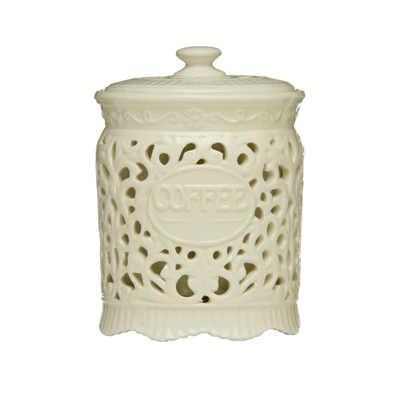 Ceramic Lace Coffee Canister, Cream Ceramic