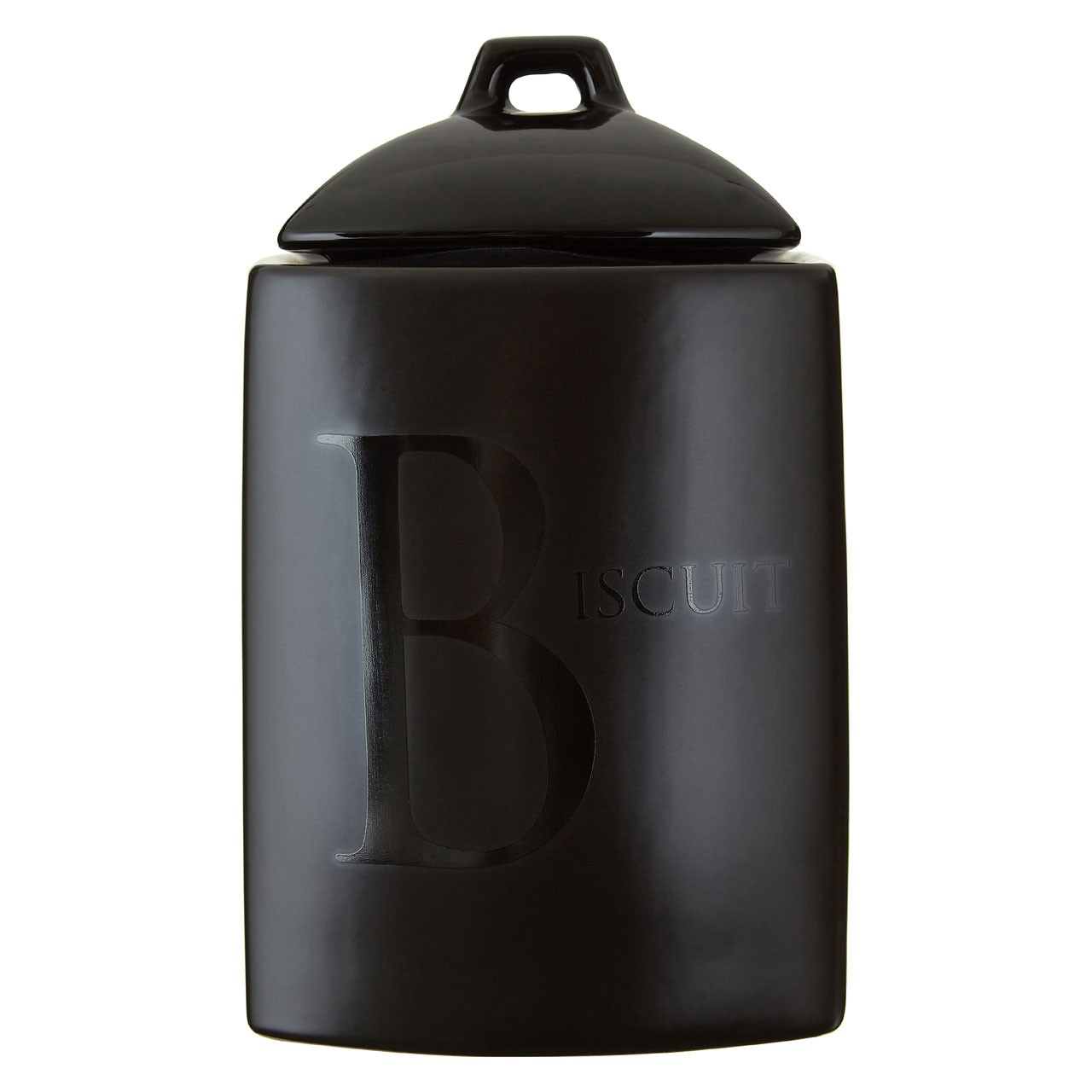 Black Text Biscuit Jar Sleek and Stylish Storage