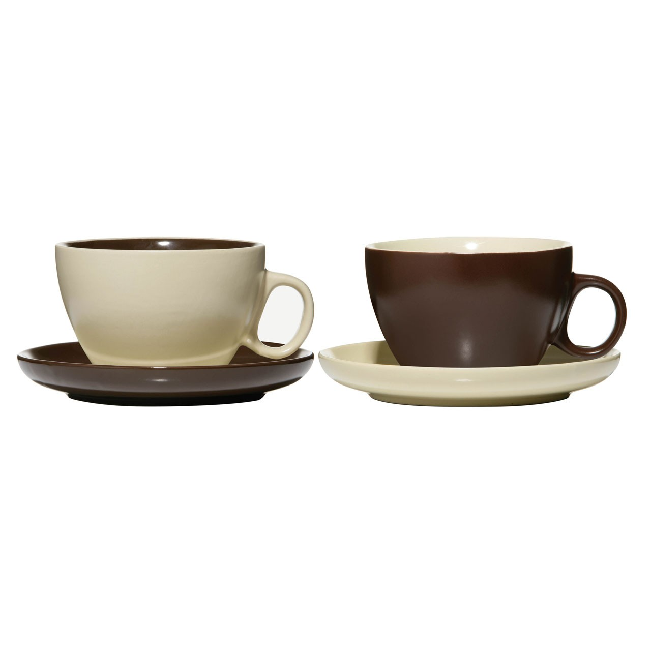Cups and Saucer, Chocolate/Cream 2 Assorted, 14oz Stoneware
