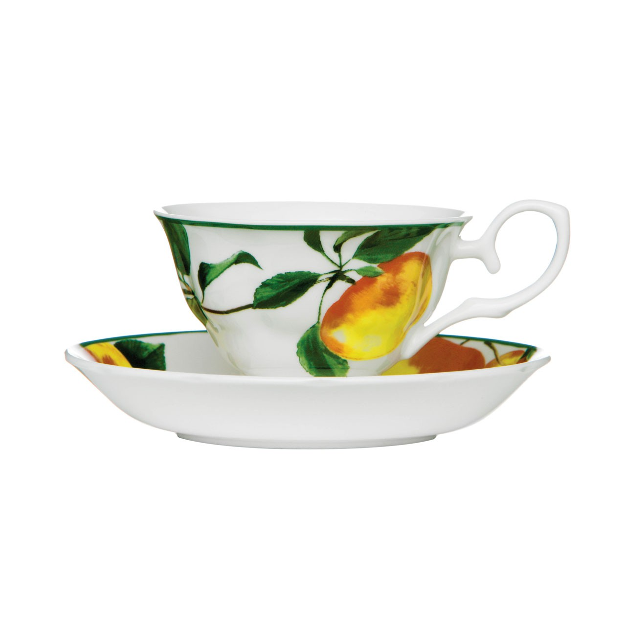 Prime Furnishing Apple Orchard Cup and Saucer, 160 ml - Set Of 6