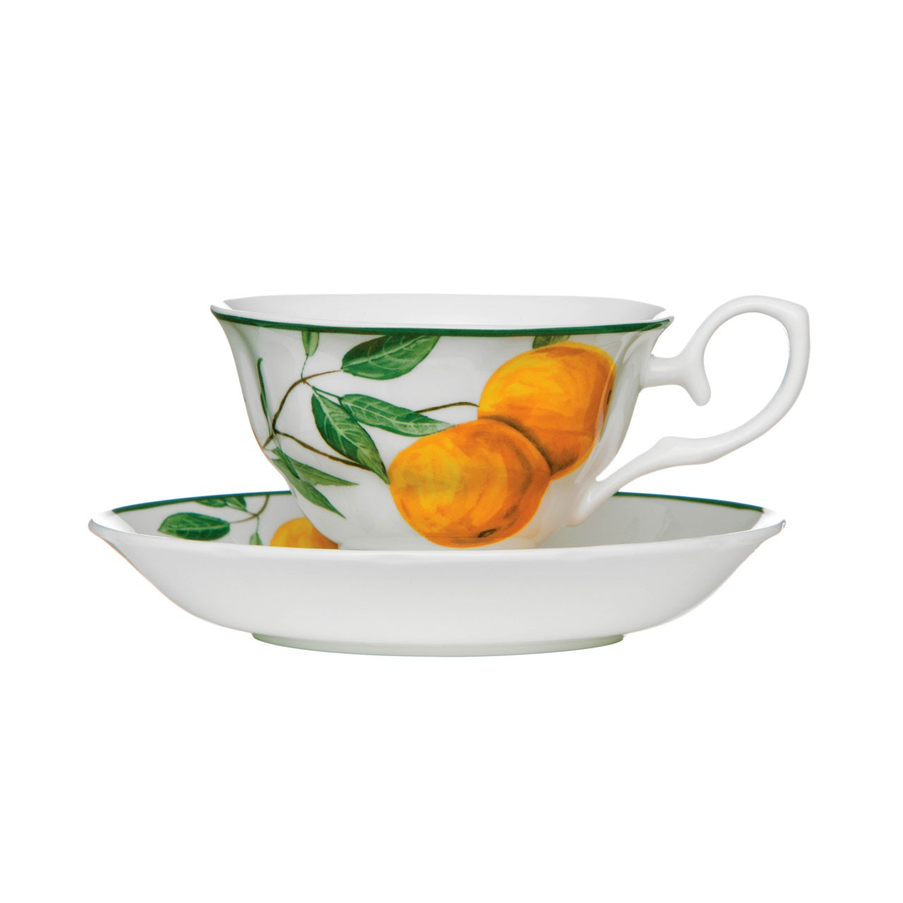 Cup And Saucer Orange Grove Set of 2 160ml Bone China