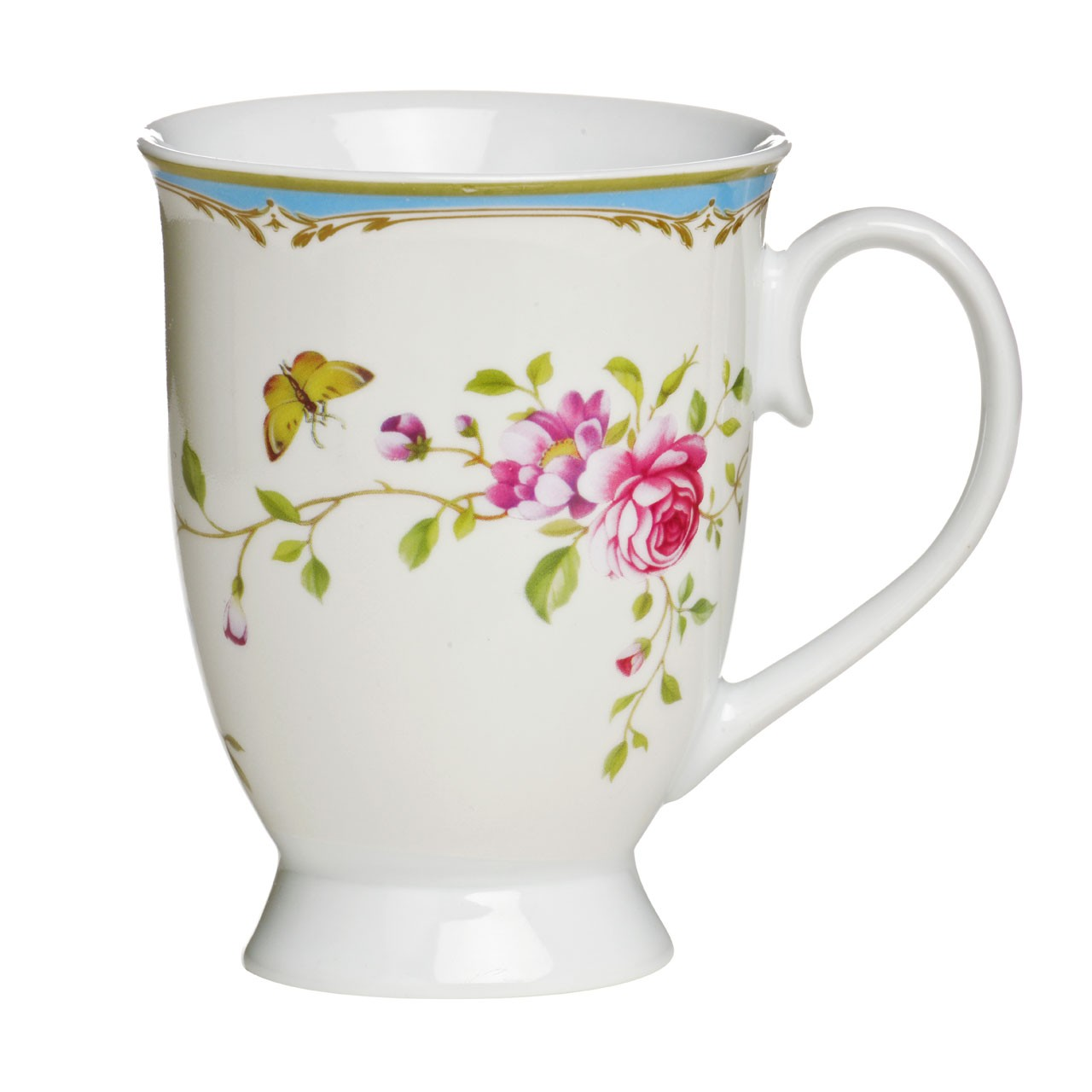 Gentle Rose Mugs, Porcelain, 12 oz - Set of 6