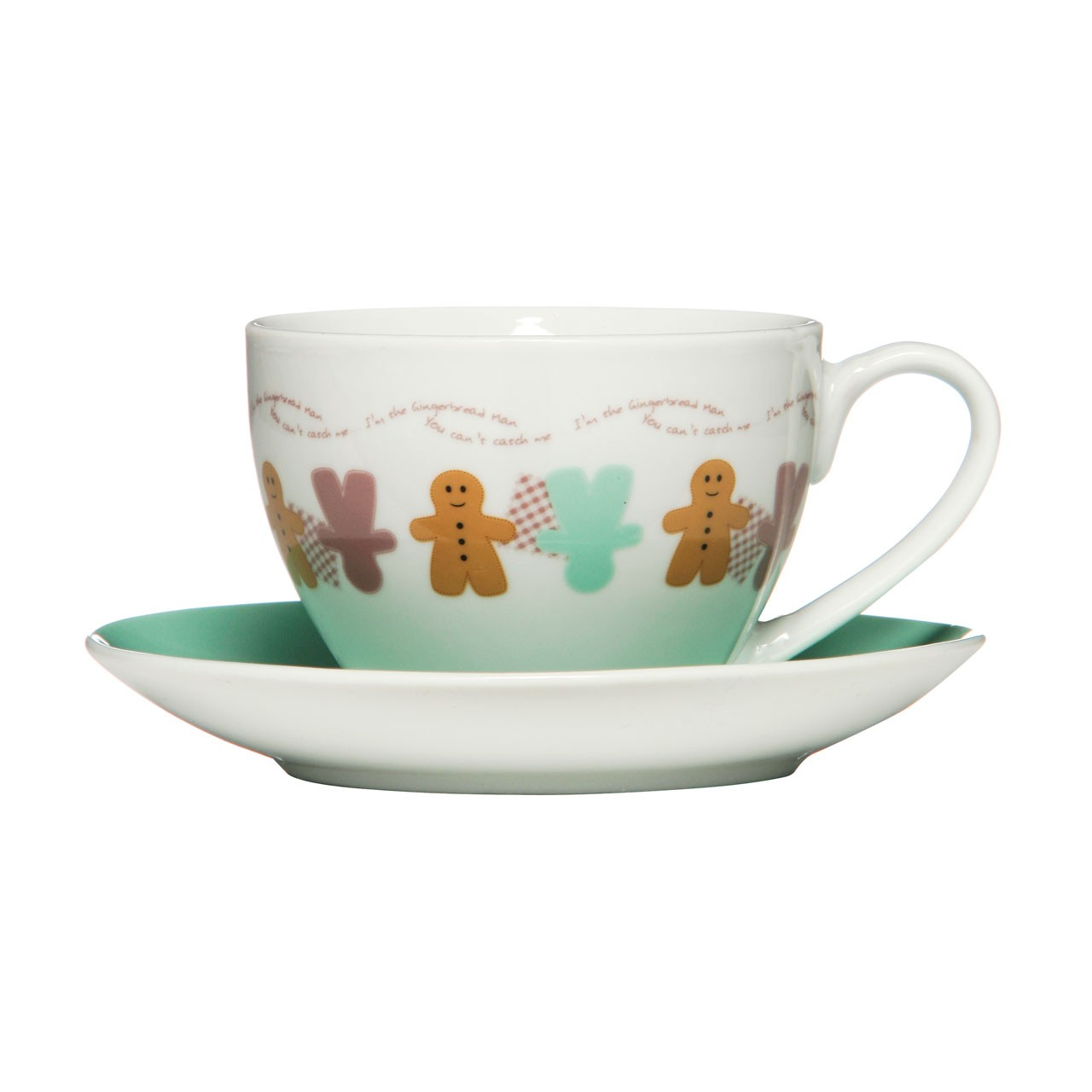 Gingerbread Man Cup And Saucer, Porcelain - 250ml - Set Of 2