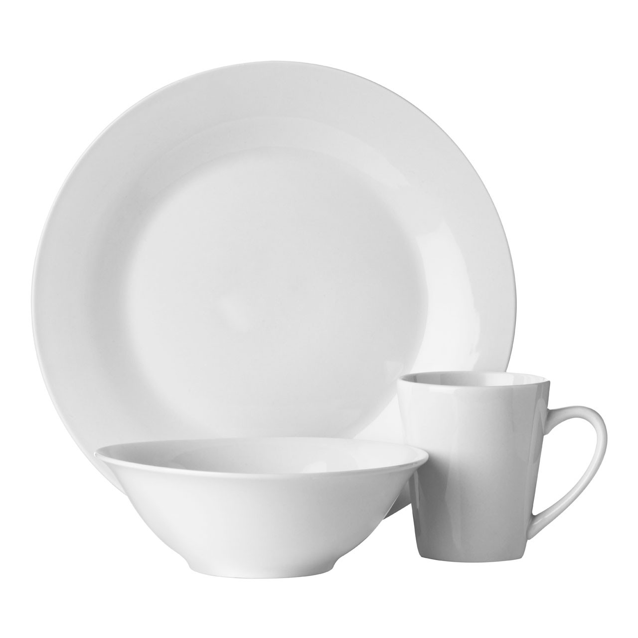 12pc Dinner Set, White Porcelain
