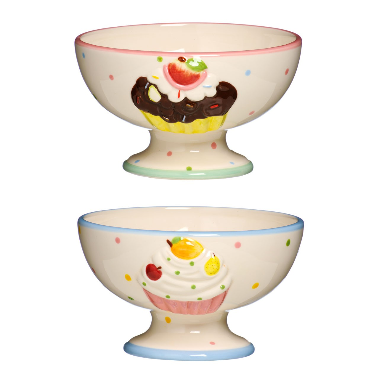2 Assorted Dessert Bowl Cupcake Design Made of high Quality