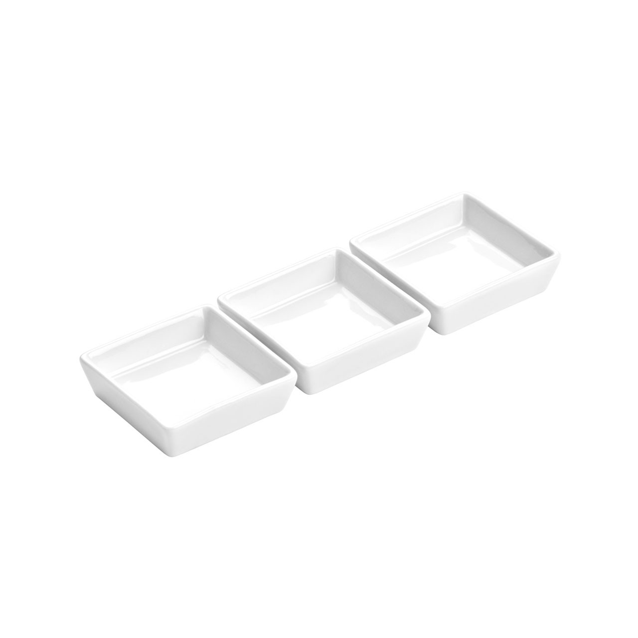 Square Entree Serving Dishes - White Porcelain, Set of 3