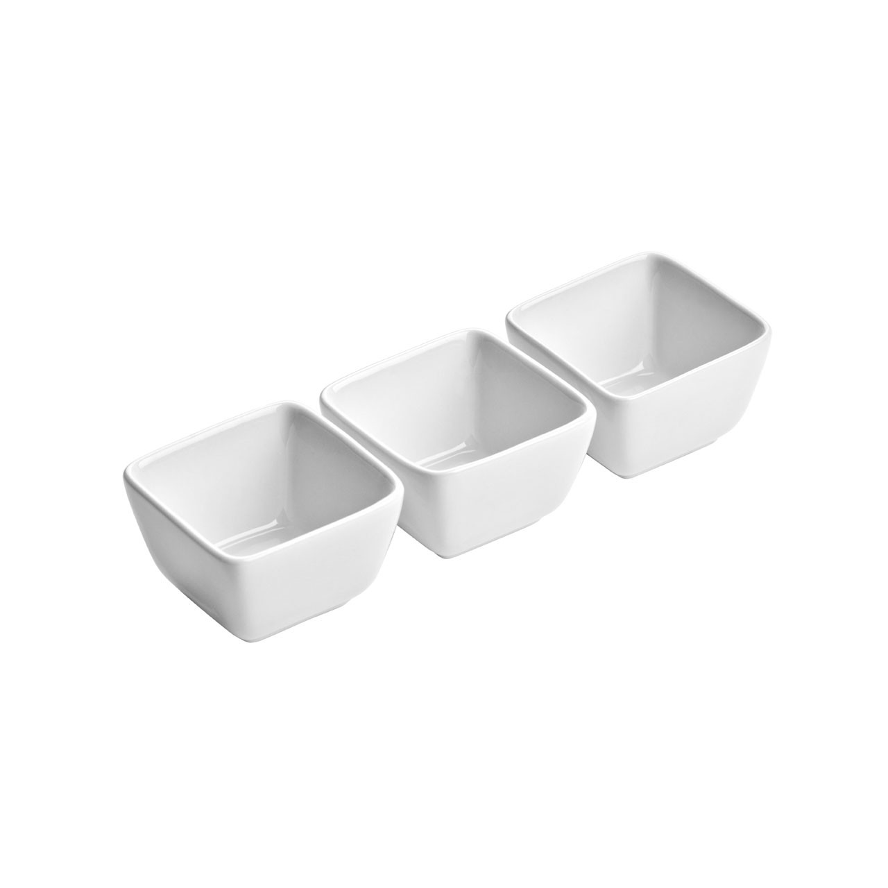 Deep Square Entre Serving Dishes - White Porcelain, Set of 3