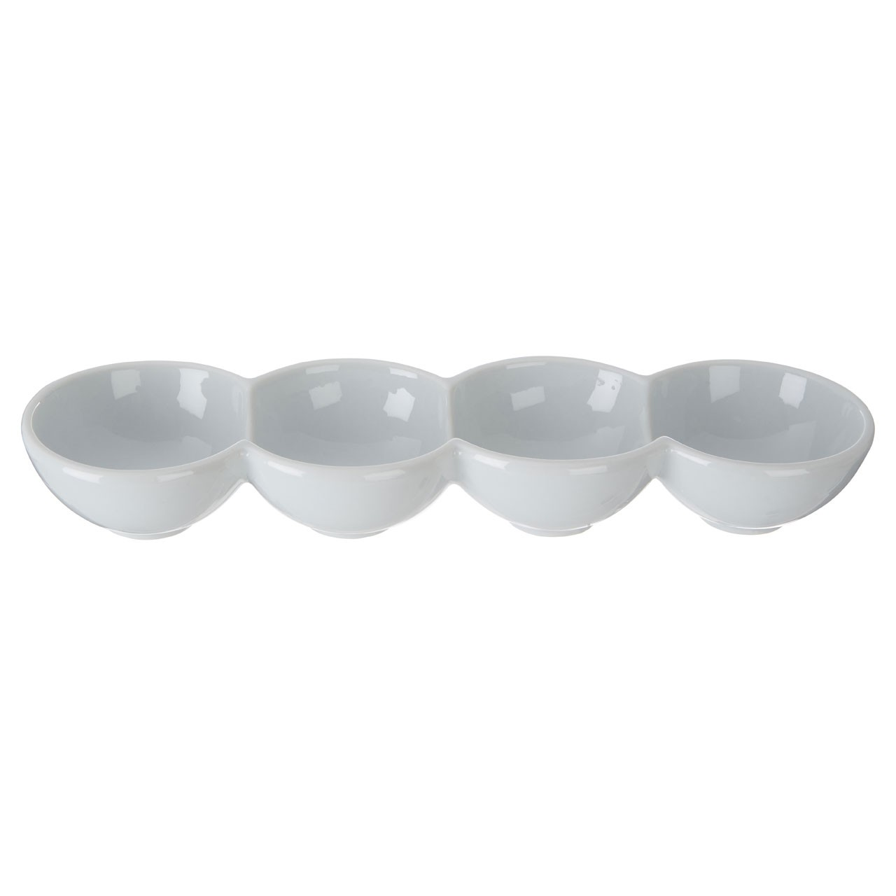 4 Section Snack Dish - White Porcelain