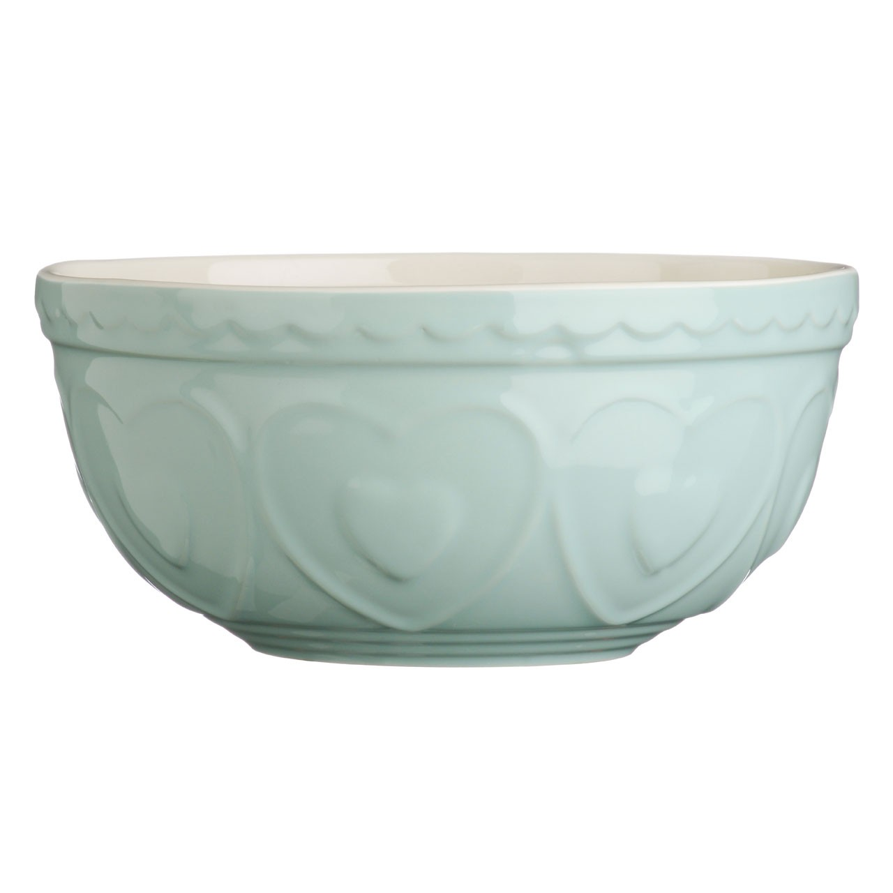 Mixing Bowl Pastel Green Heart Stoneware 2.5Ltr