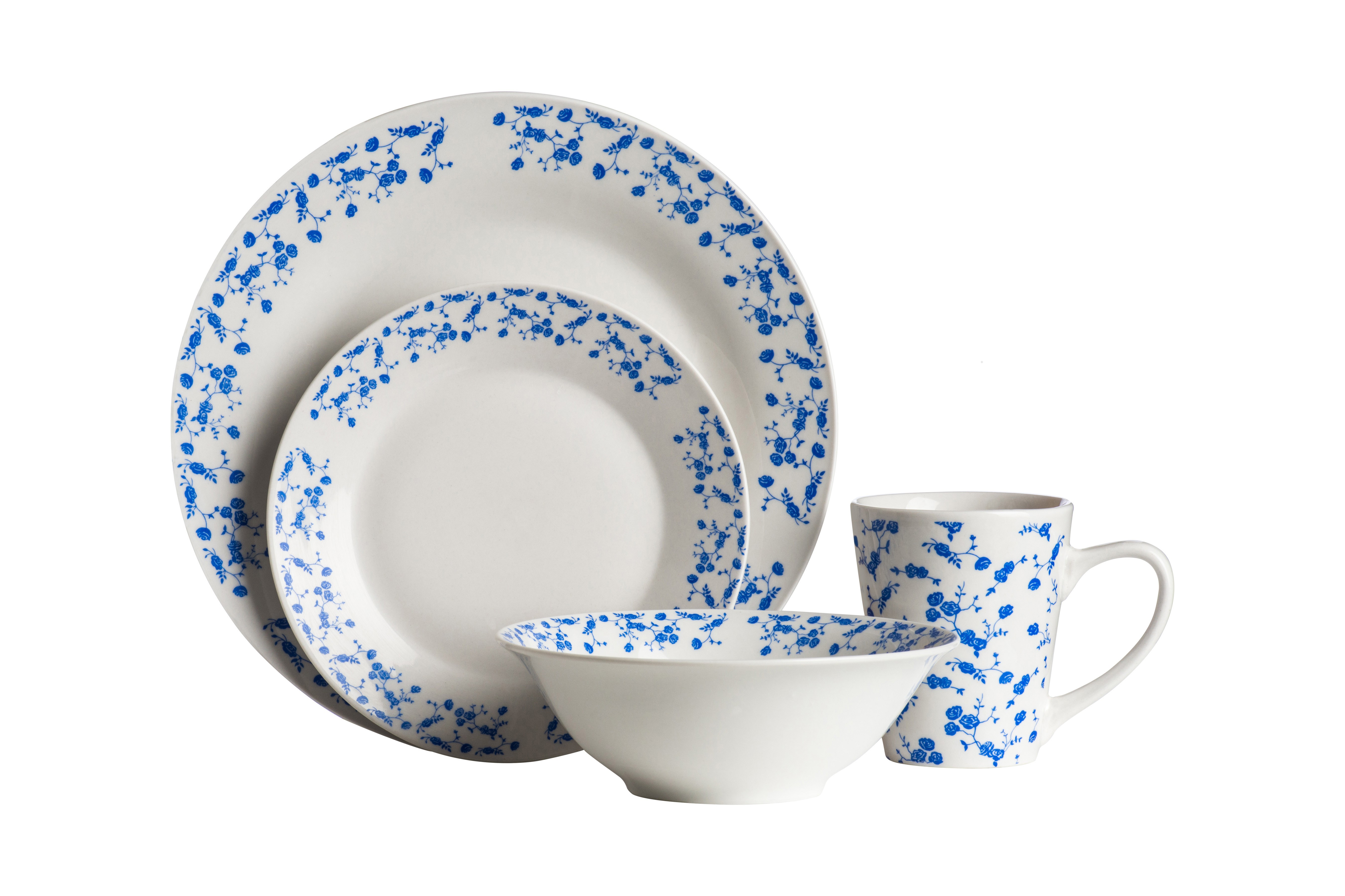 Prime Furnishing 16pc Blue Rose Flower Porcelain Dinner Set