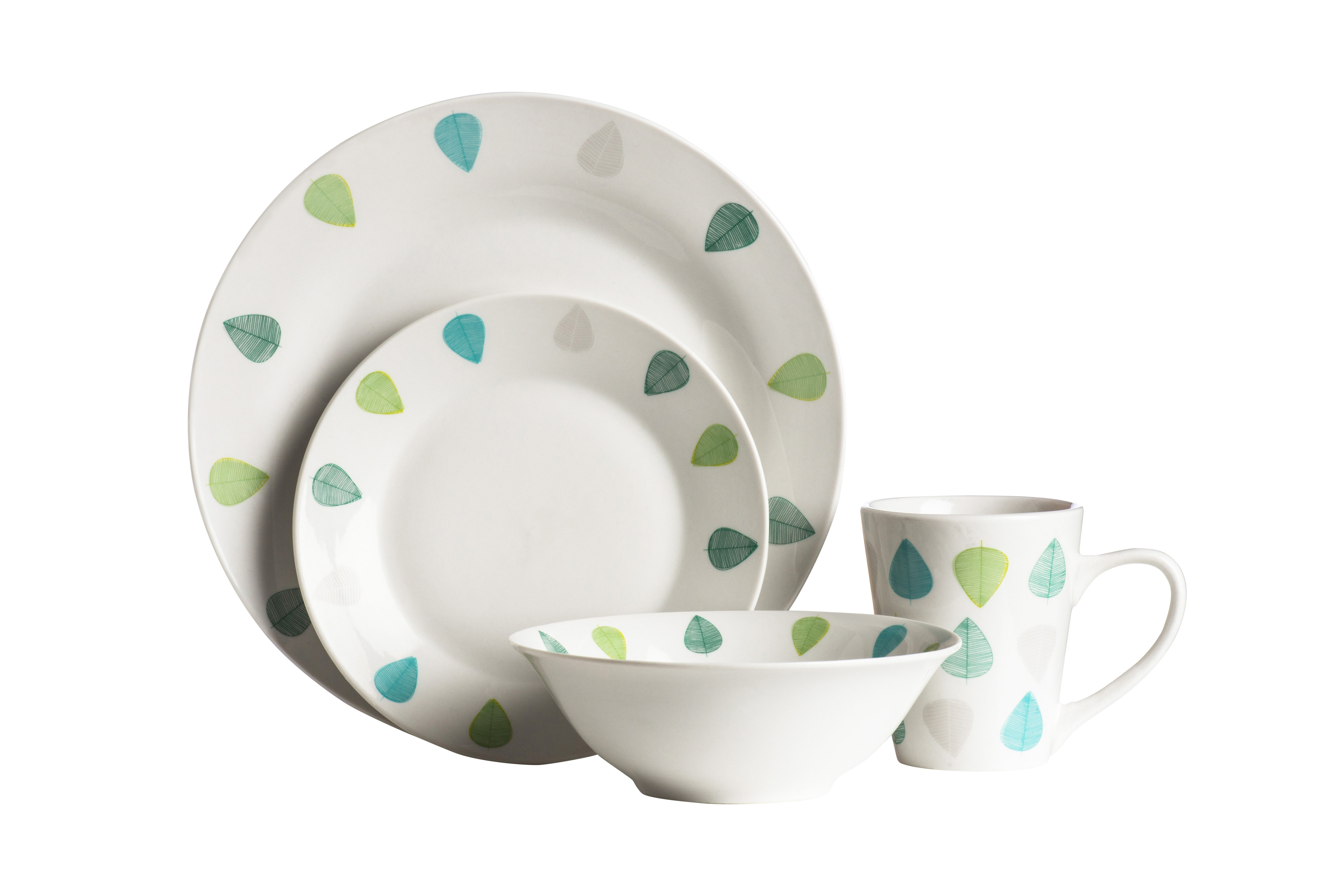 16 Piece Green Leaves Porcelain Dinner Set