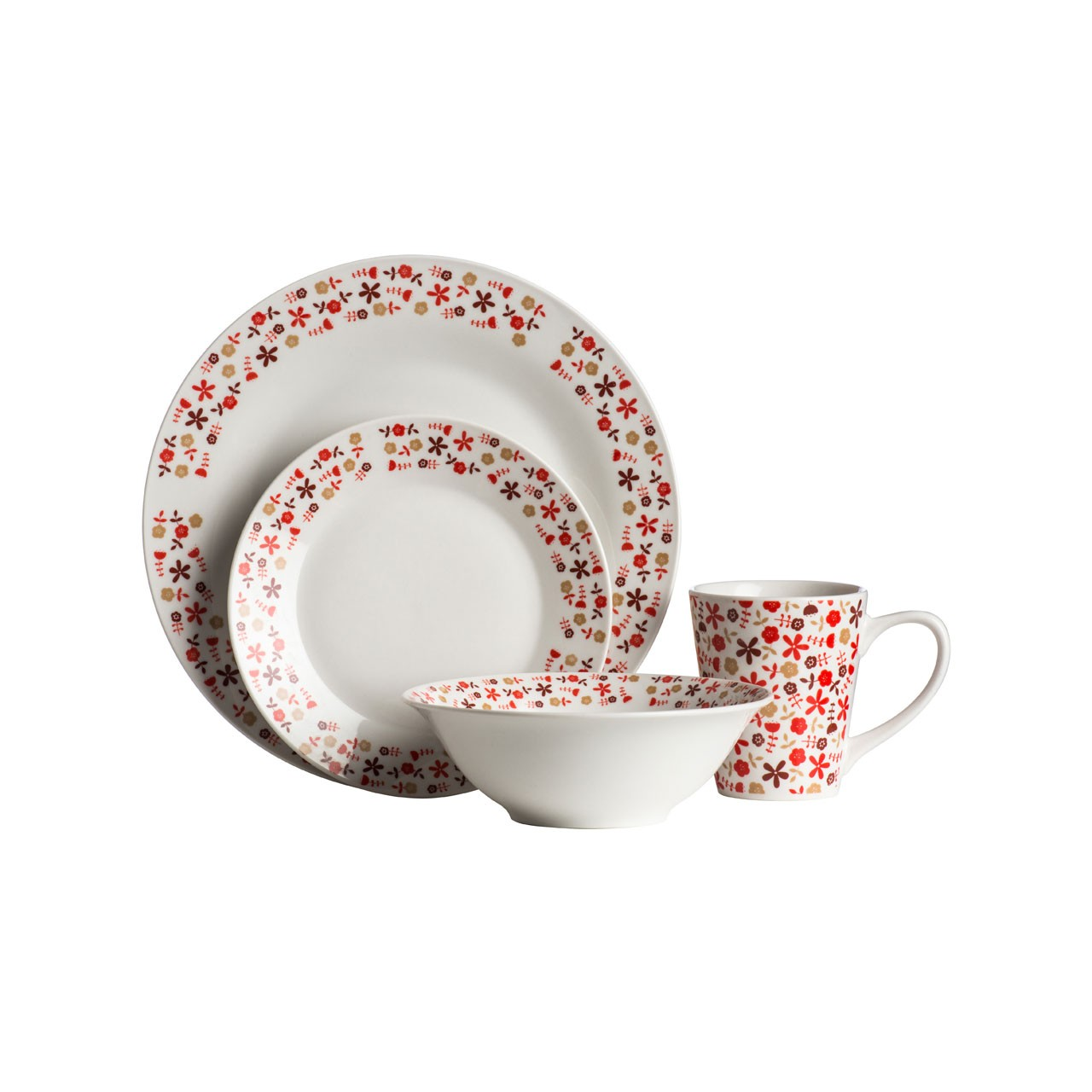 16 Piece Red Daisy Flower Porcelain Dinner Set