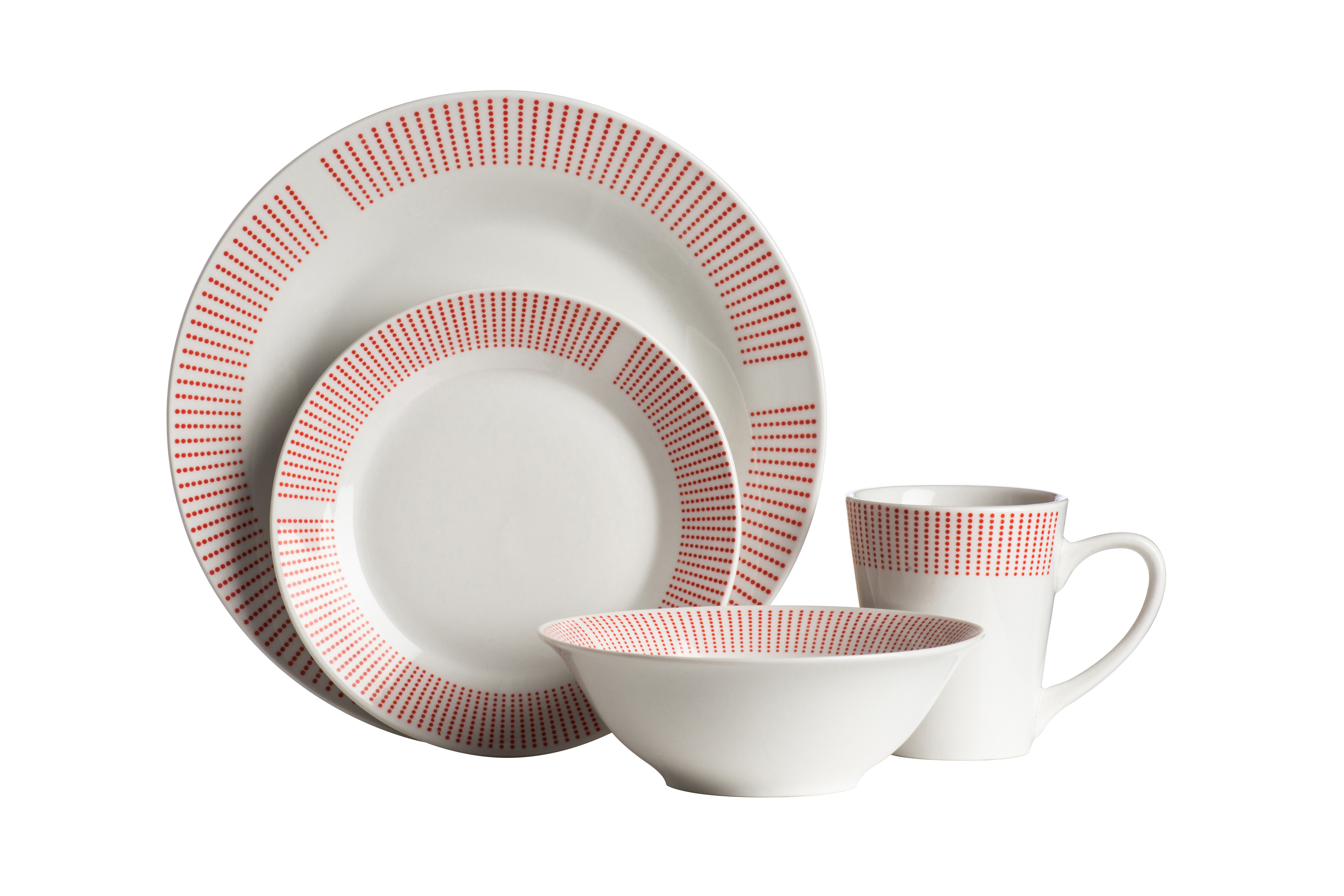 Prime Furnishing 16pc Orange Lines Design Porcelain Dinner Set
