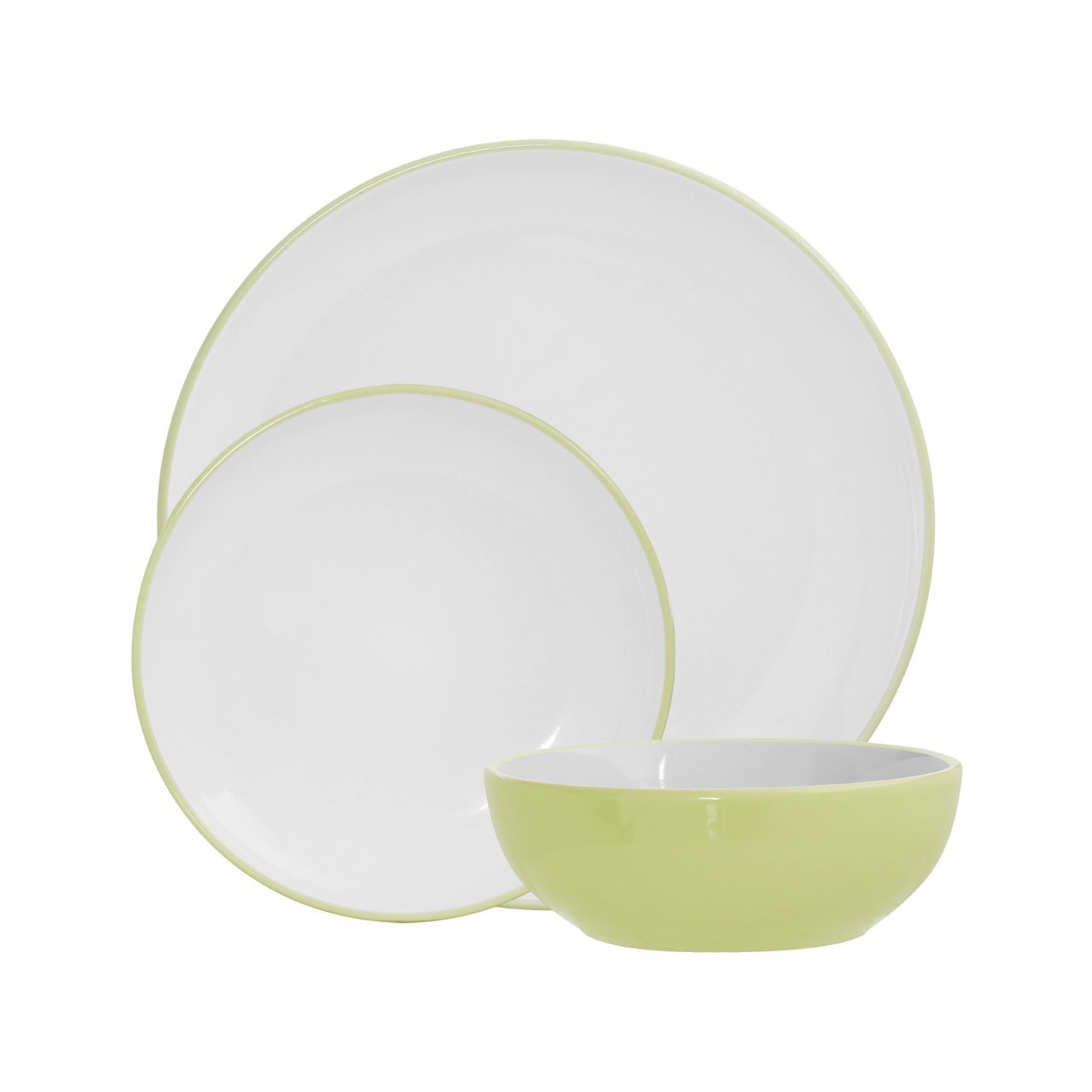 12pc Sienna Dinner Set - Green/White Stoneware