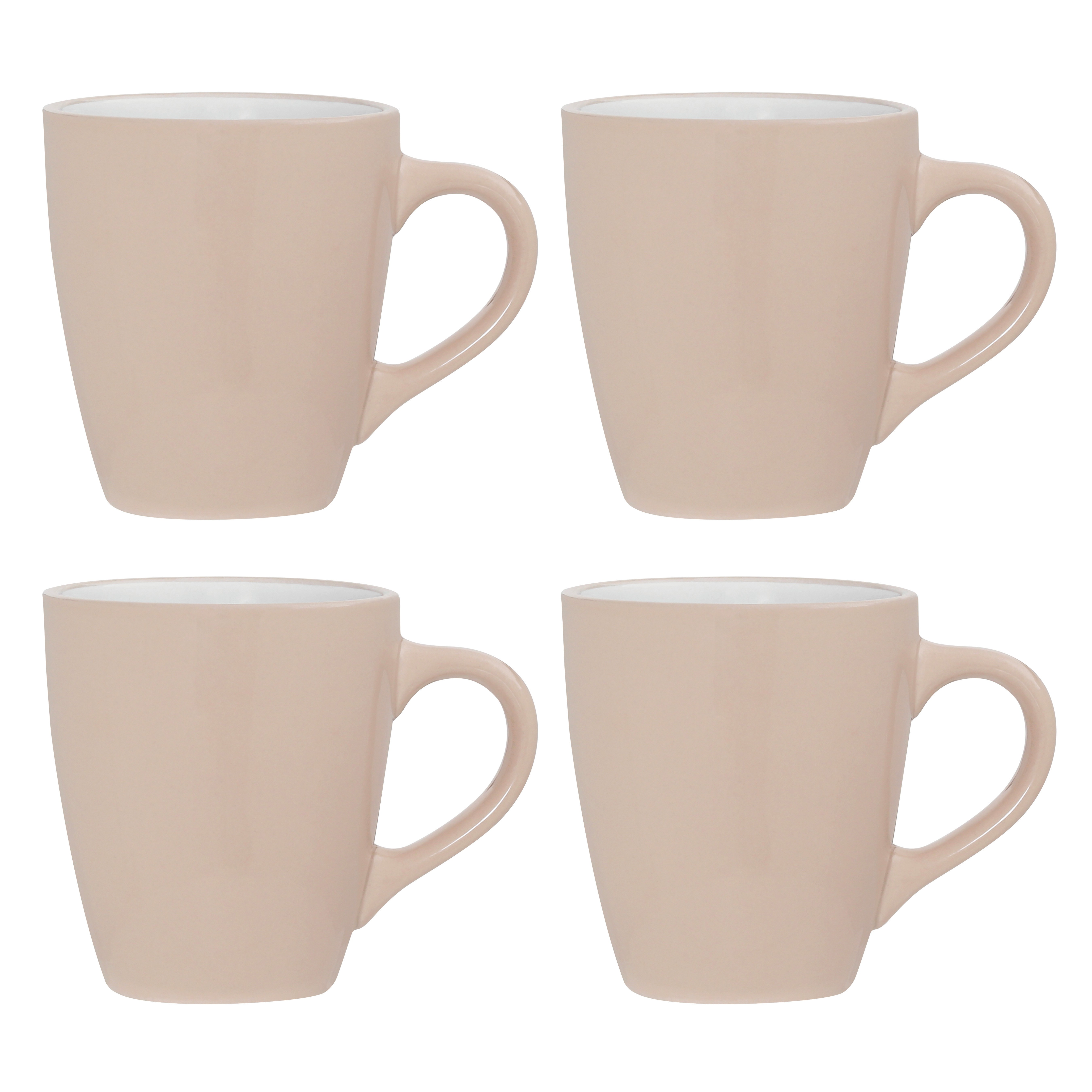 Set of 4, Natural/White Stoneware Mugs