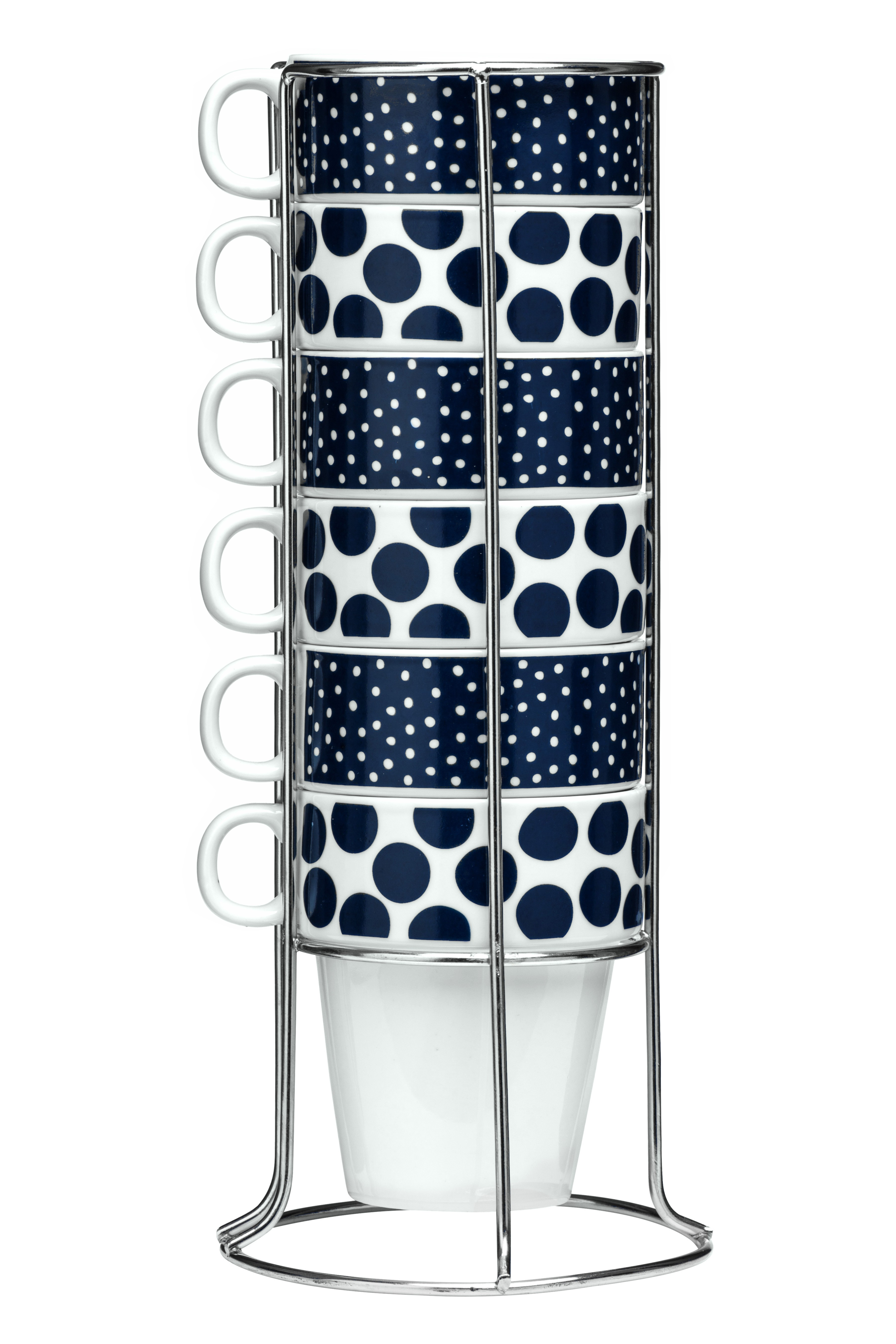 Set of 6 Mugs with Stackable Stand - Blue