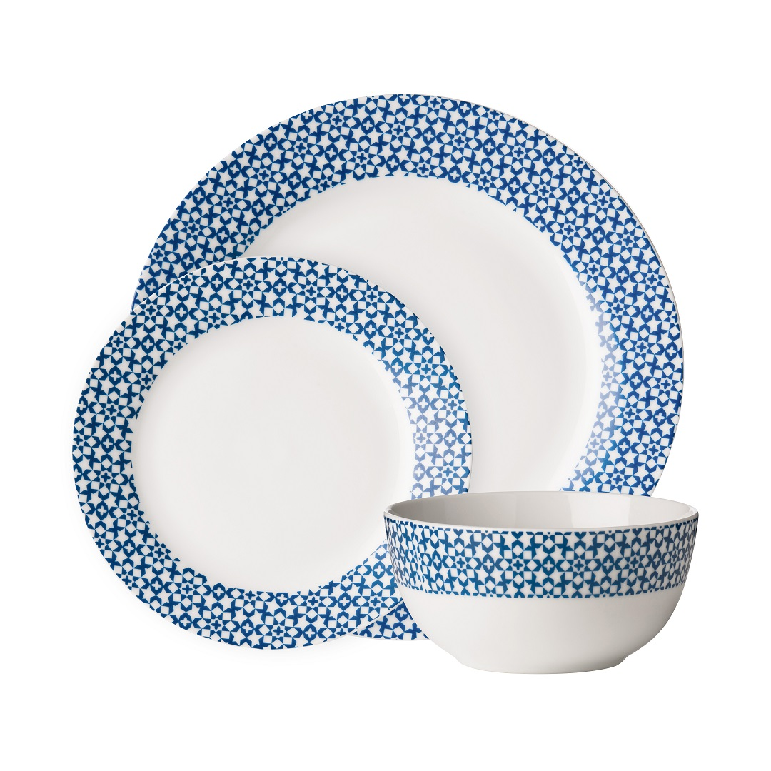 Avie 12pc Casablanca Dinner Set Blue Porcelain