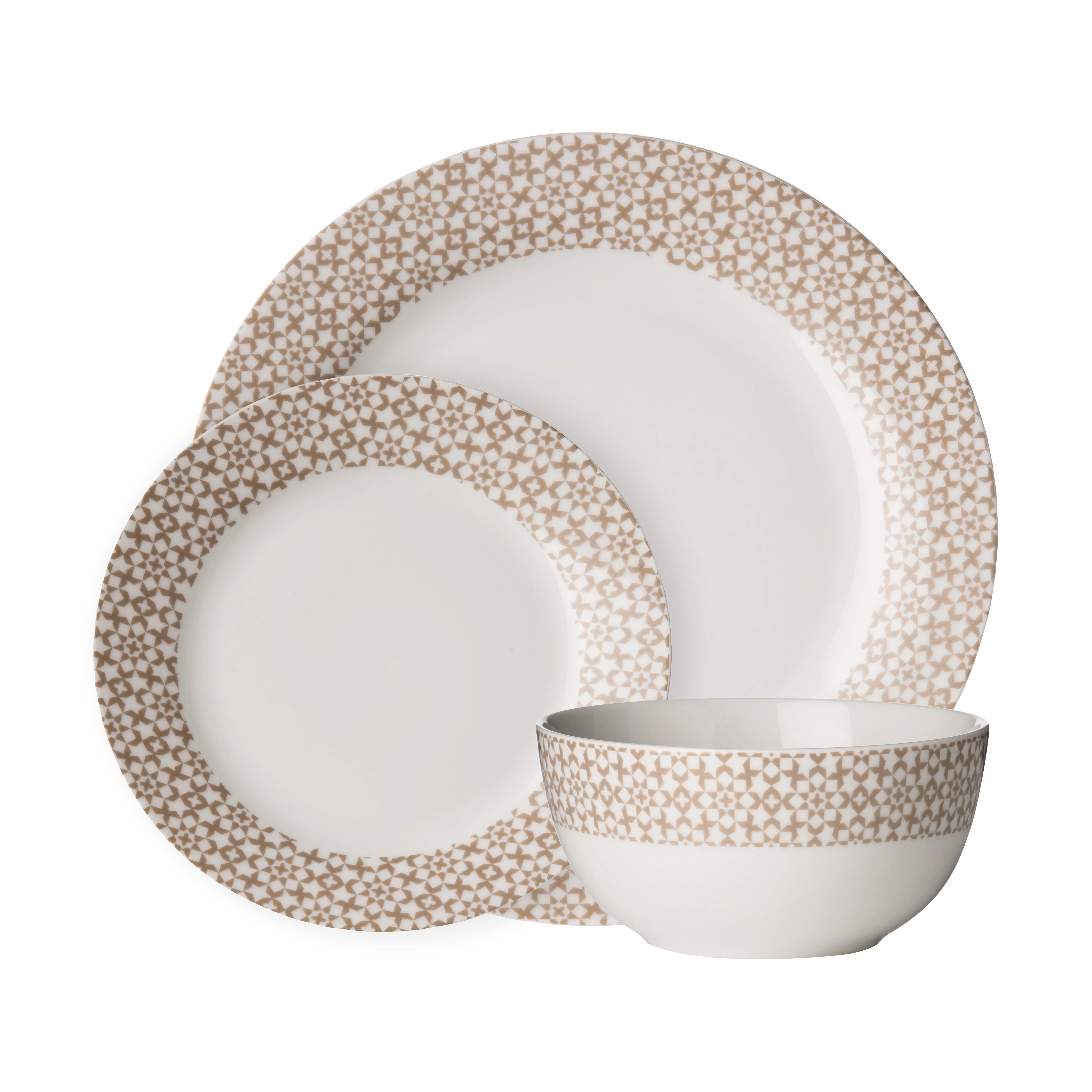 Avie 12pc Casablanca Dinner Set Natural Porcelain