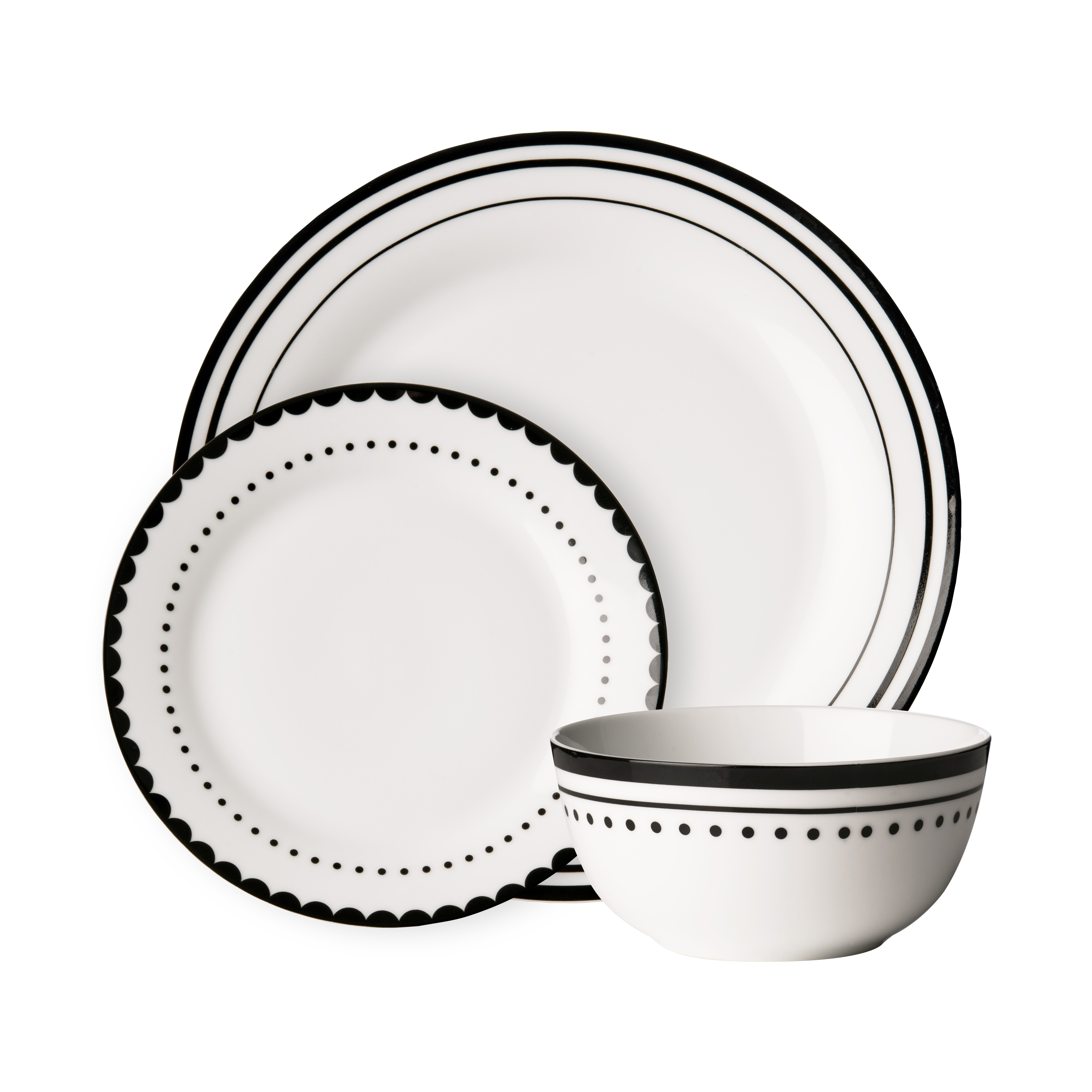 Avie 12pc Saturn Dinner Set Black Porcelain