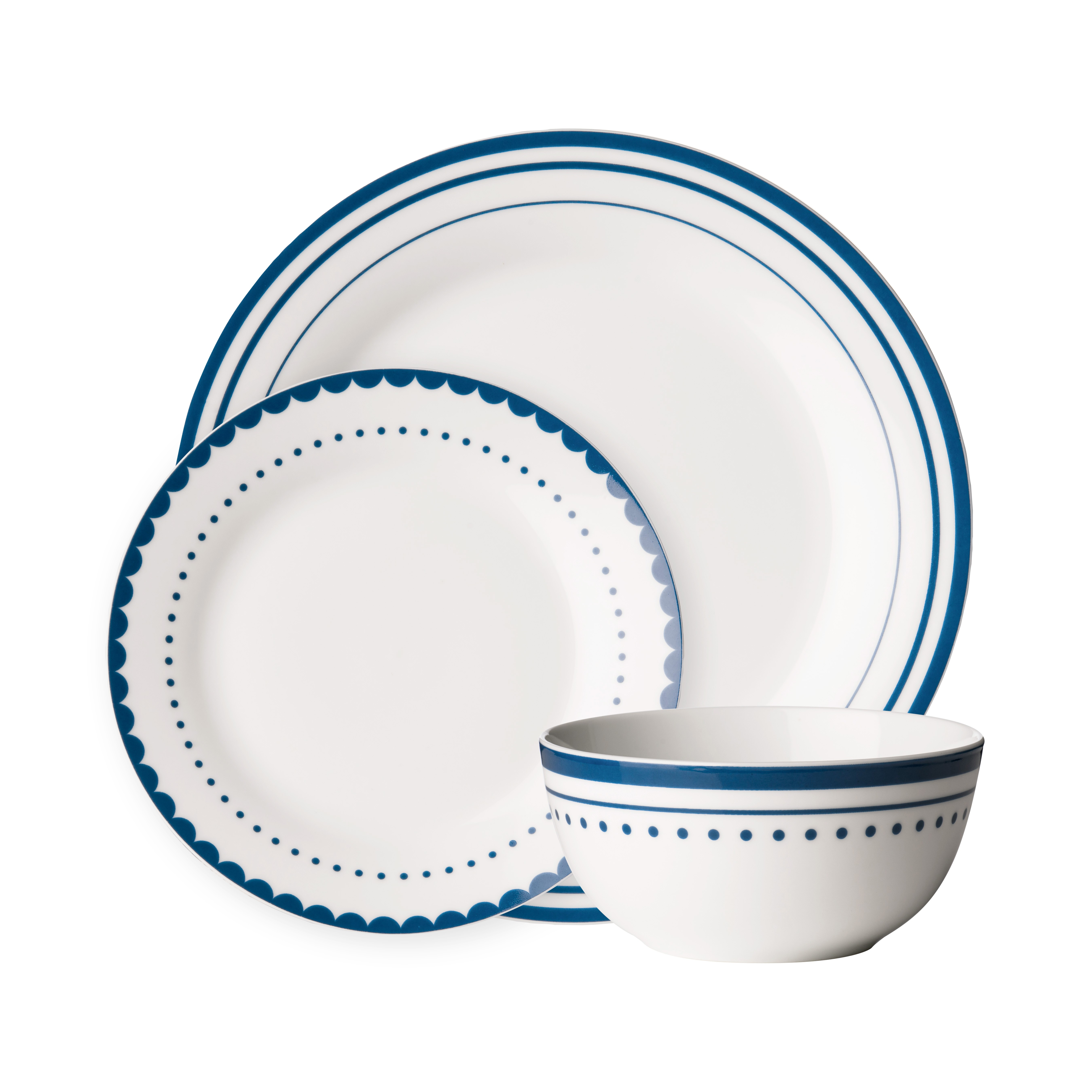 Avie 12pc Saturn Dinner Set Blue Porcelain