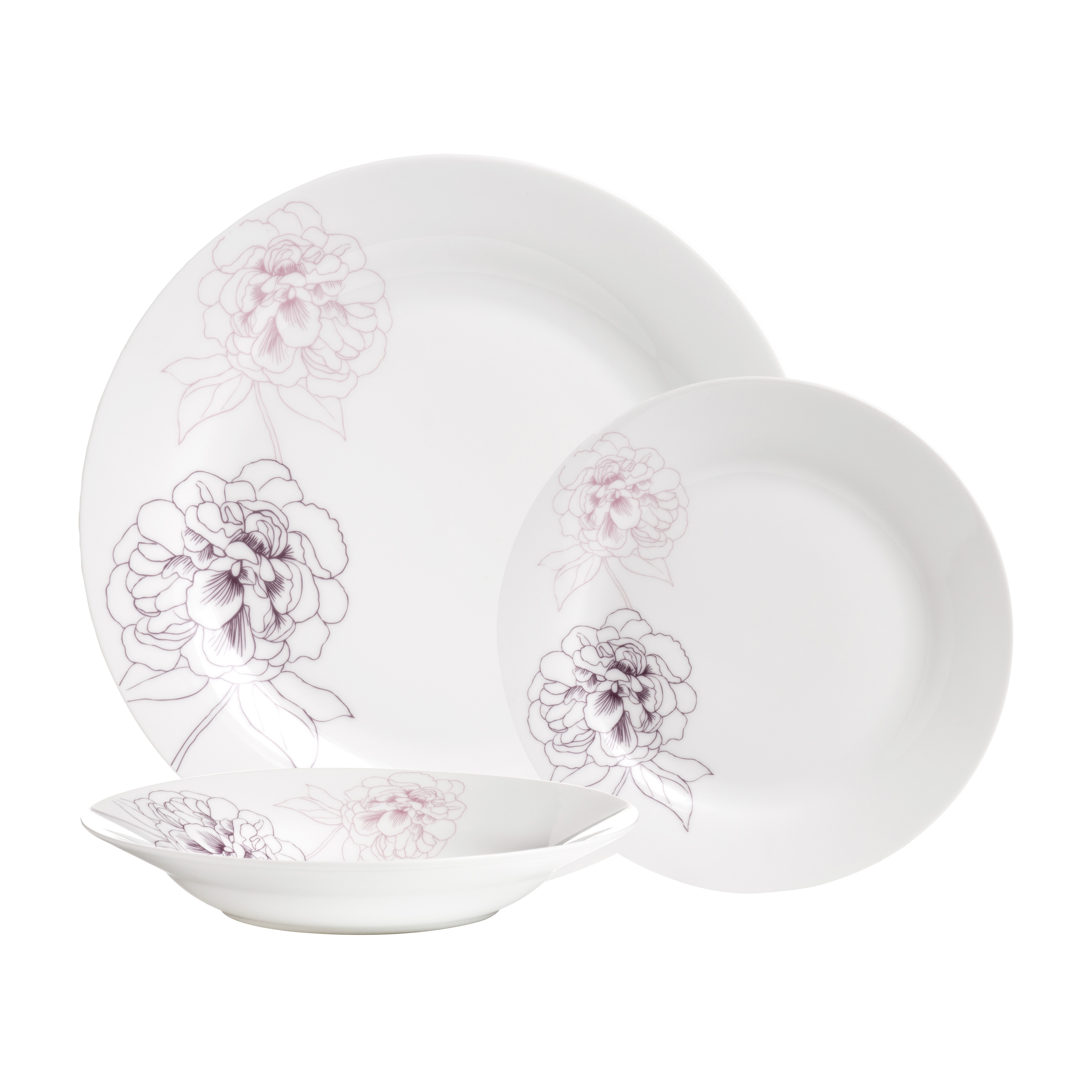 Avie 12pc Flora Dinner Set Purple Porcelain
