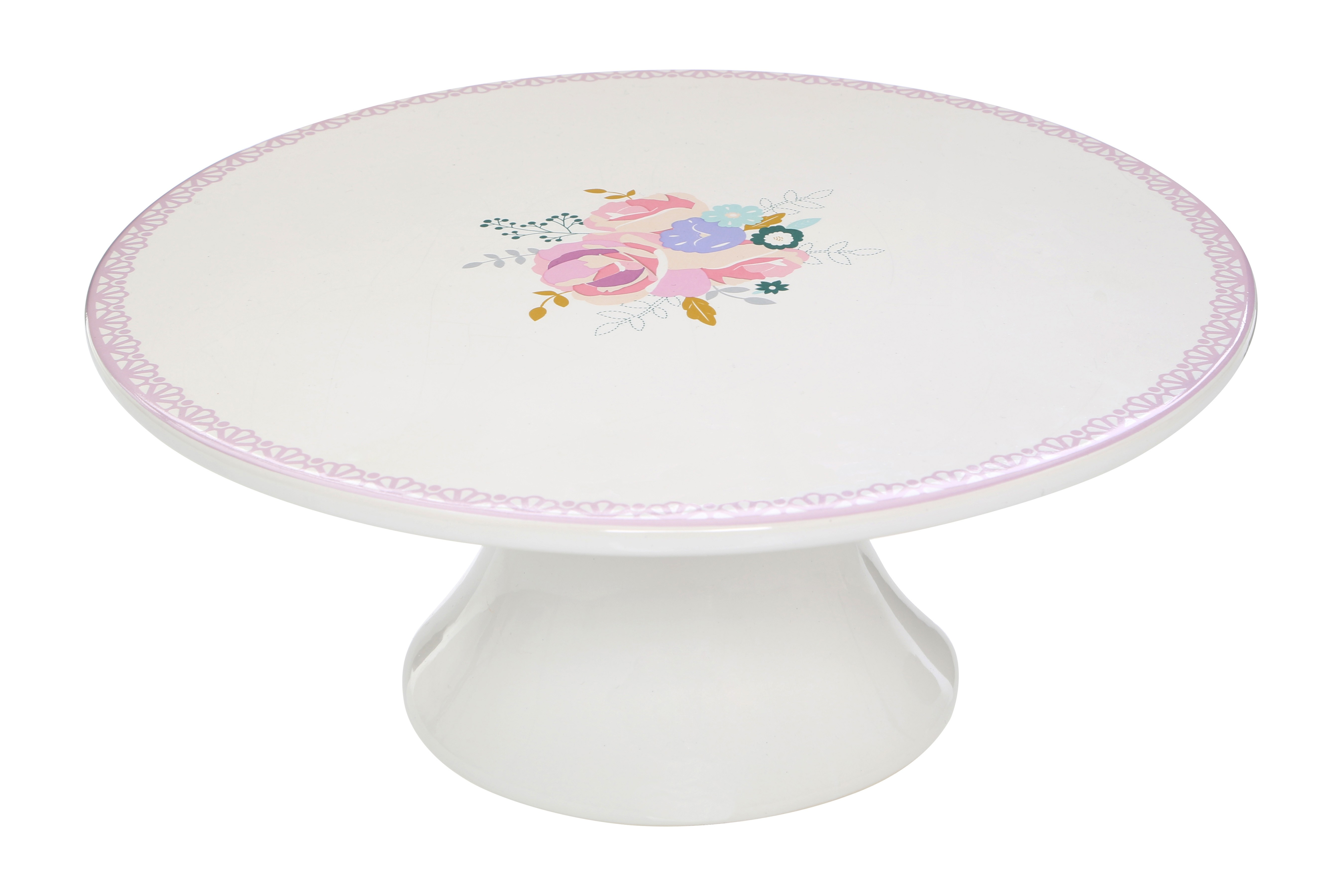 Amelie Cake Stand Dolomite Floral Pattern Amelie Cake Stand