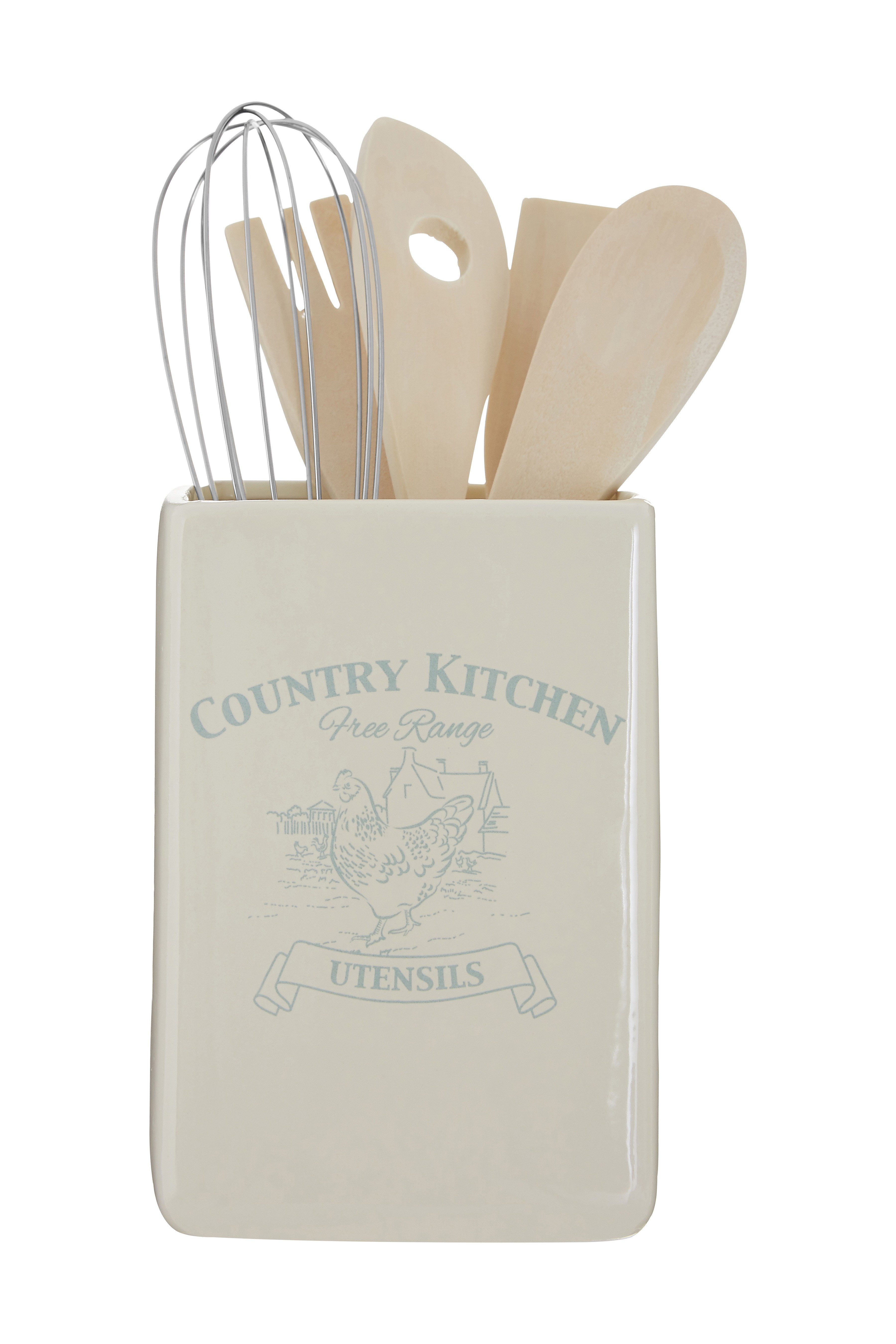 Country Kitchen Utensil Holder With Tools Cream Dolomite