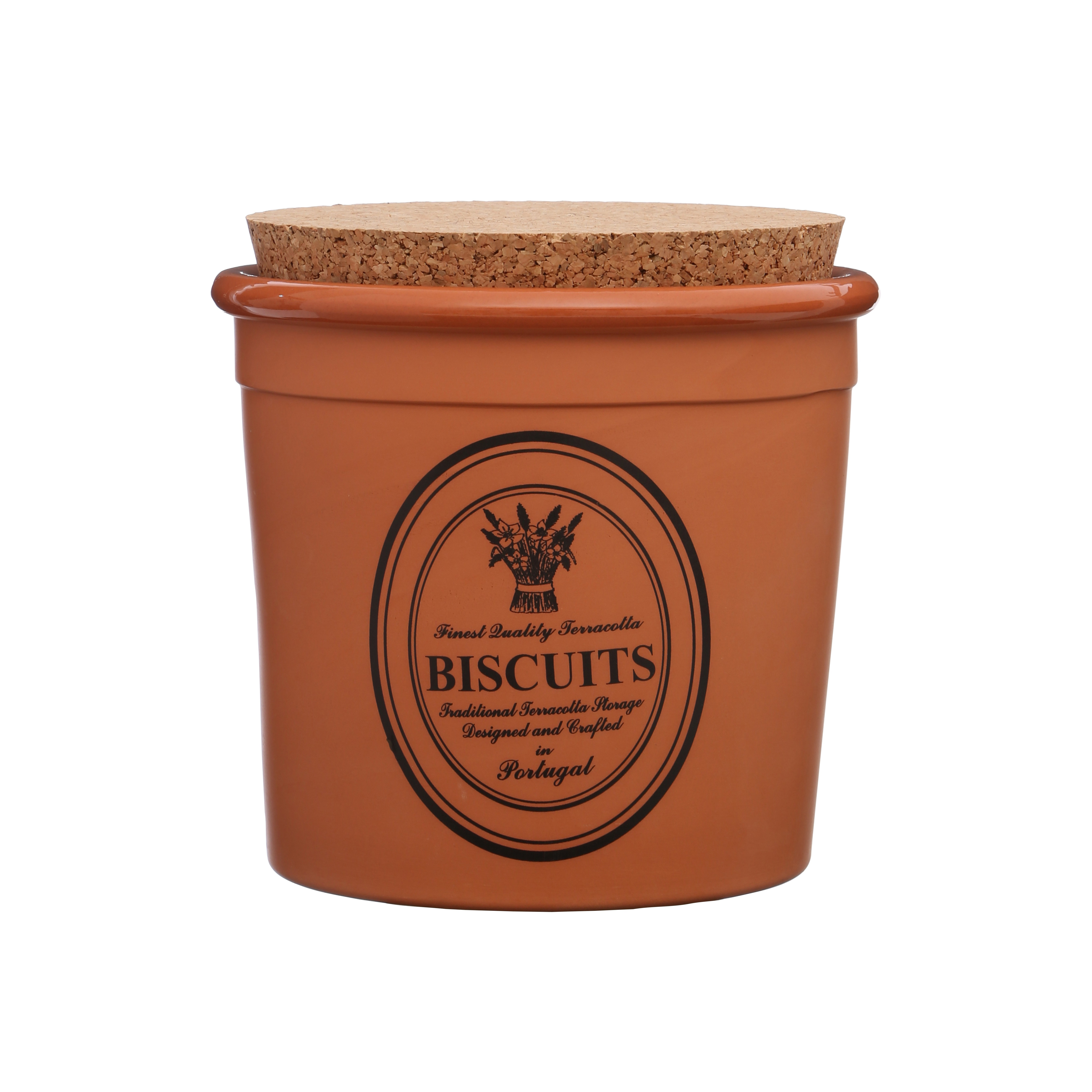 Porto Biscuit Canister Natural Terracotta - Cork Lid