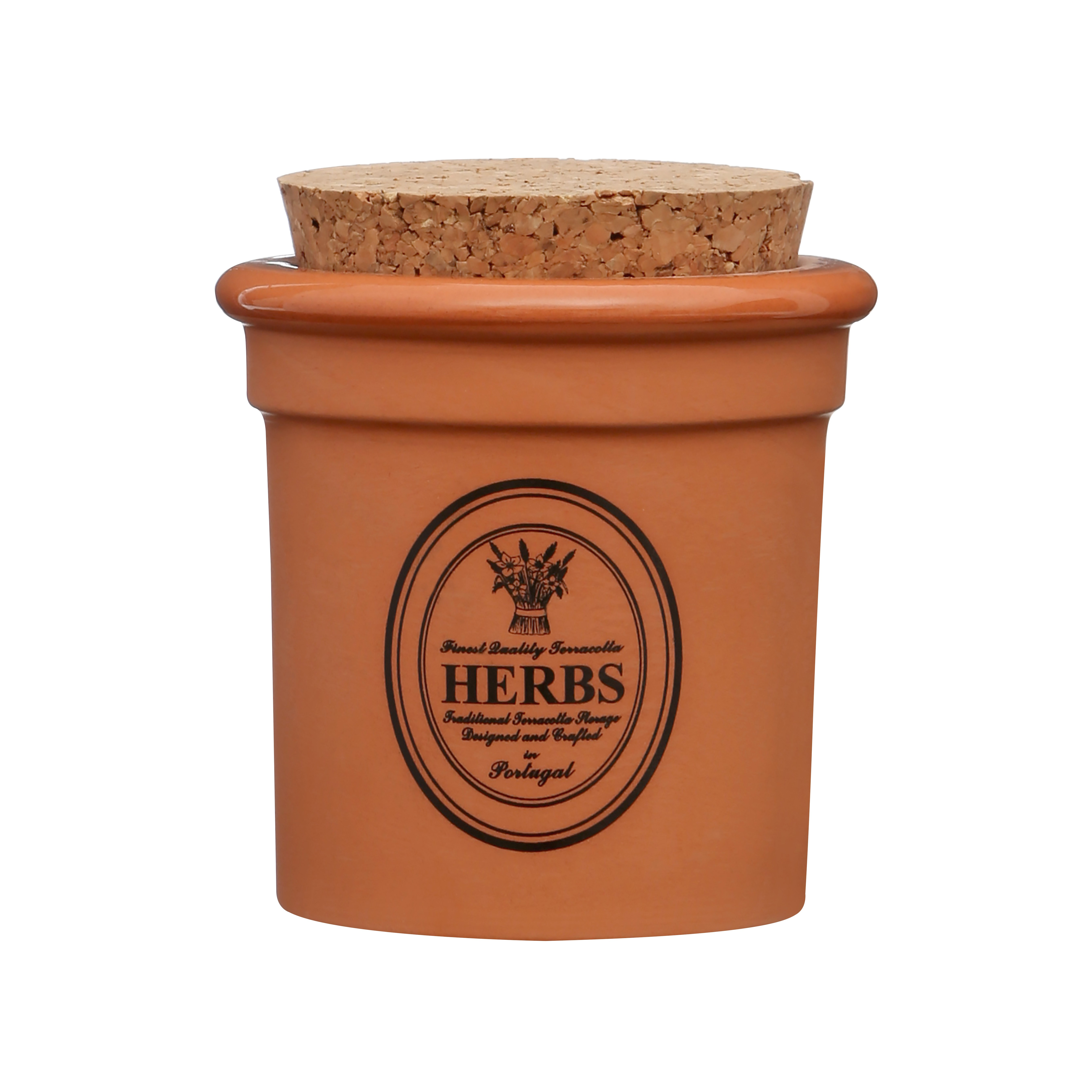 Porto Herb Canister Natural Terracotta - Cork Lid