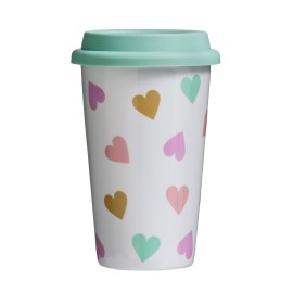 Confetti Travel Mug (Double Walled) Porcelain Silicone 330ml