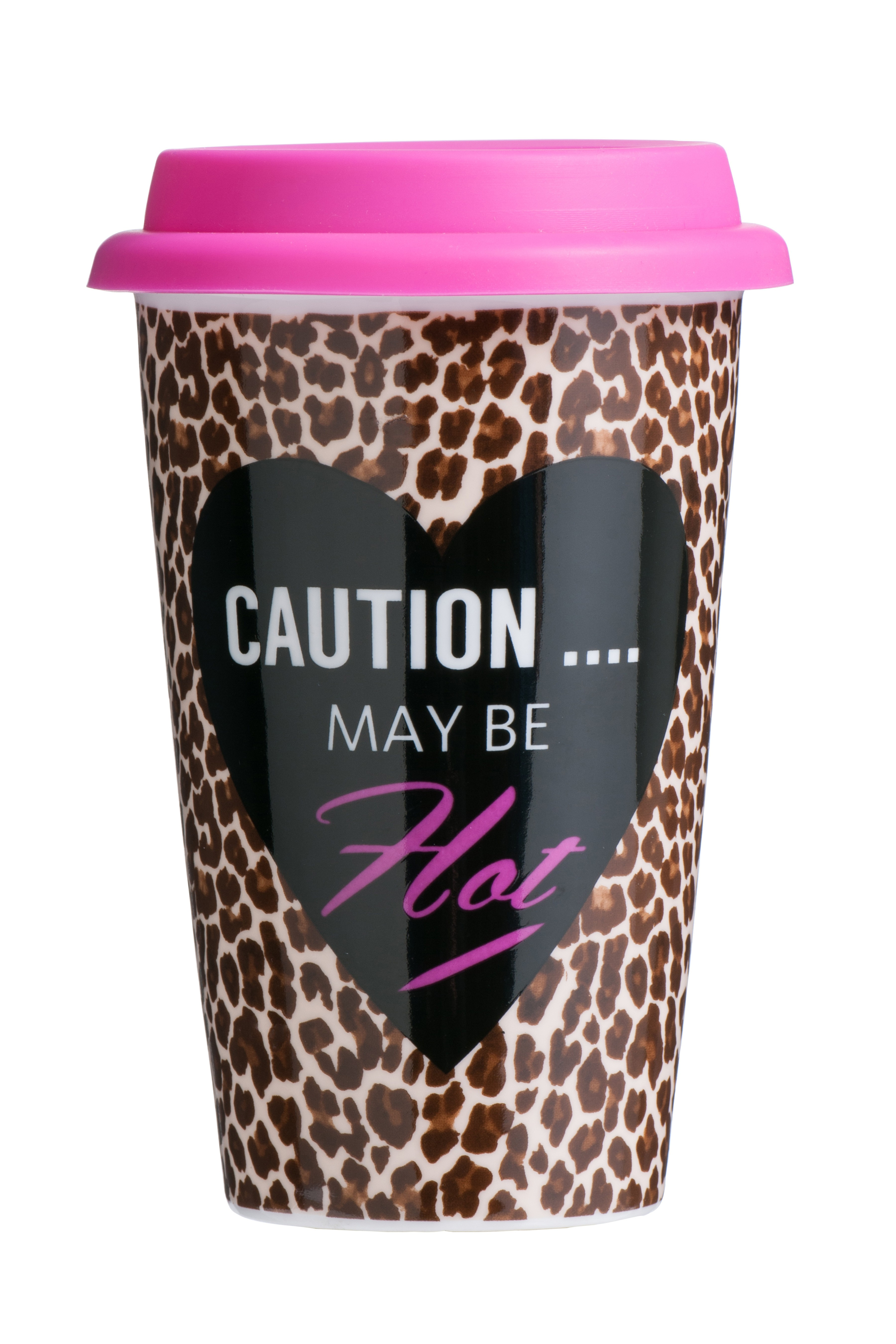 Leopard Travel Mug (Double Walled) Porcelain Silicone 330ml