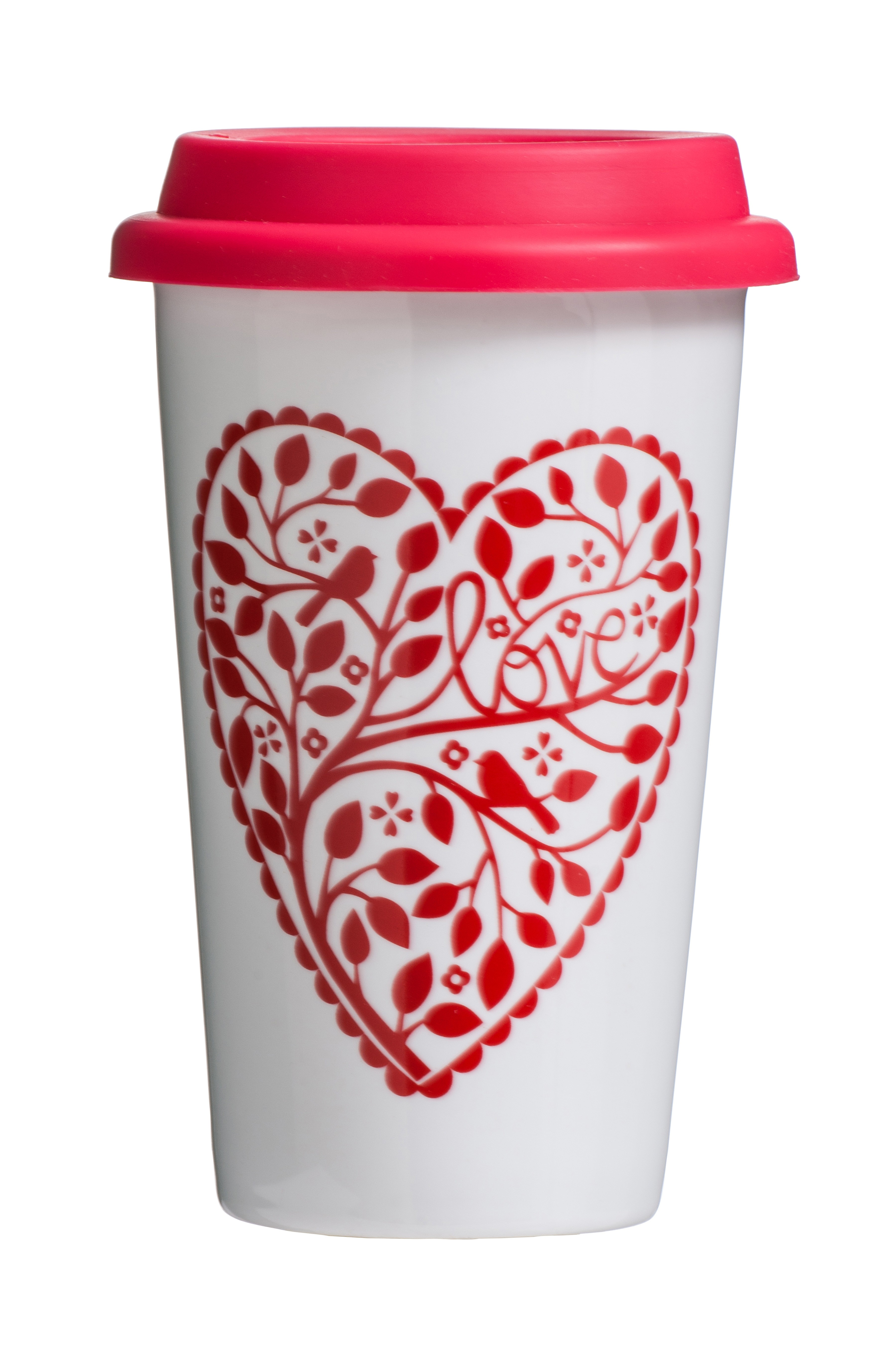 Chickadee Travel Mug (Double Walled) Porcelain Silicone 330ml