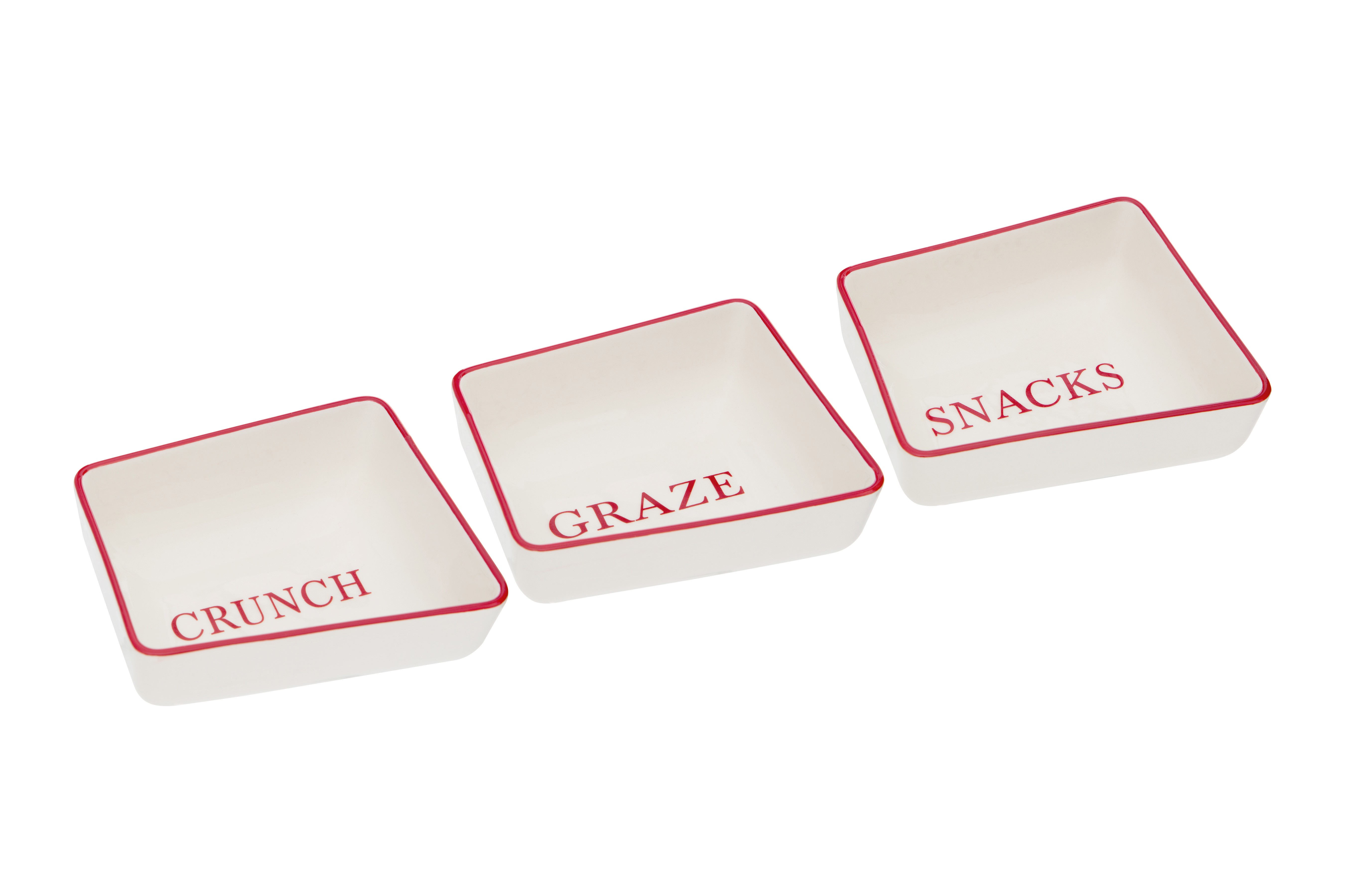 Hollywood Snack Dishes Red/Cream Stoneware Set of 3