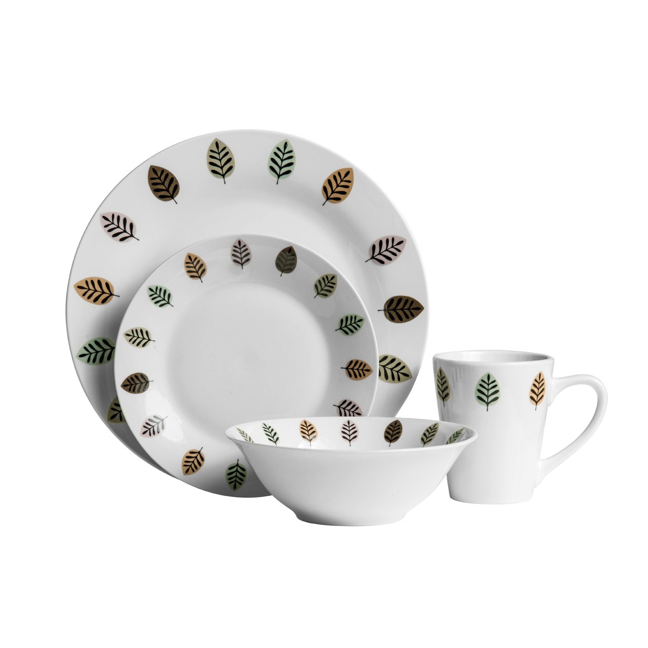 Prime Furnishing 16pc Elm Dinner Set, Porcelain