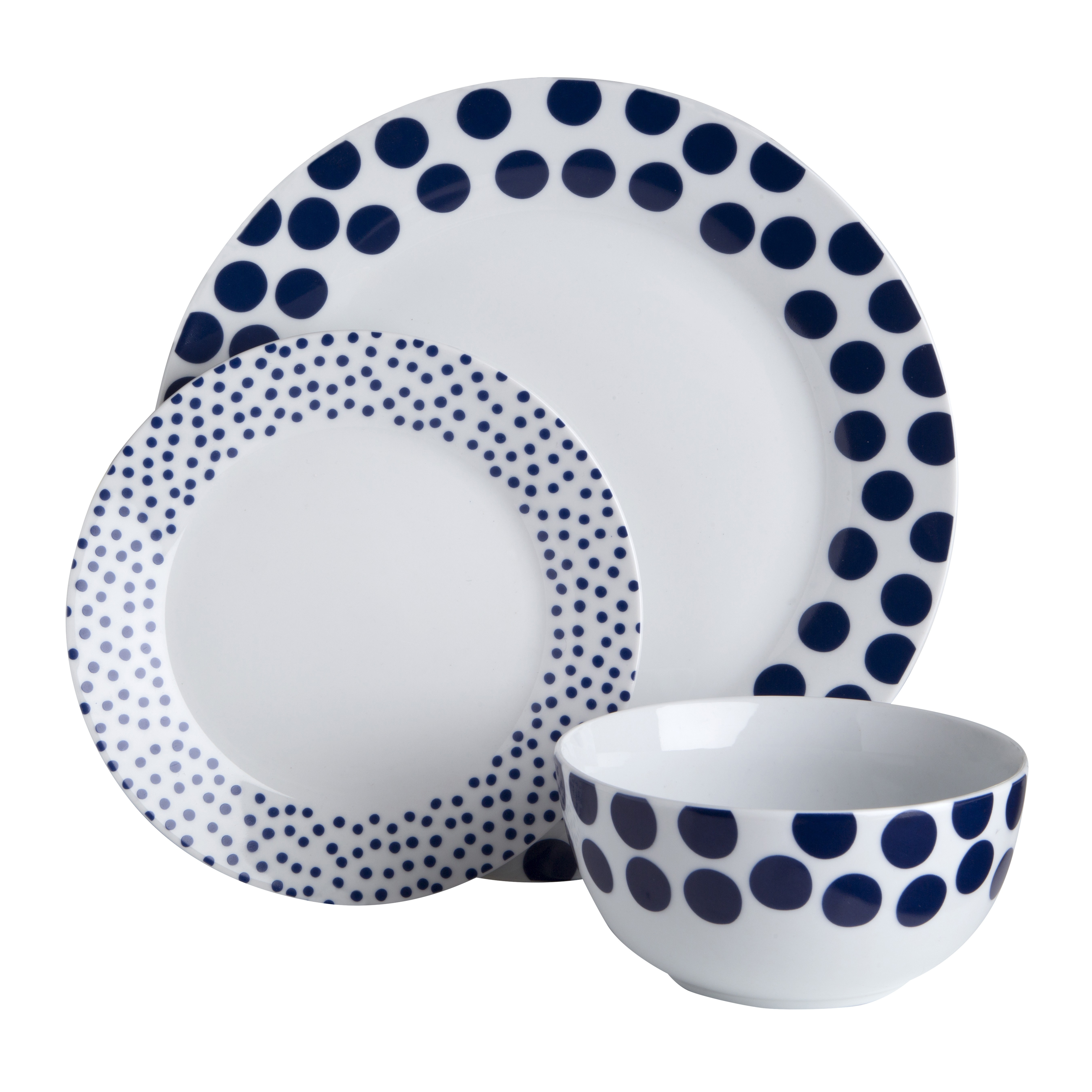 Prime Furnishing 12pc Blue Spots Design Dinner Set