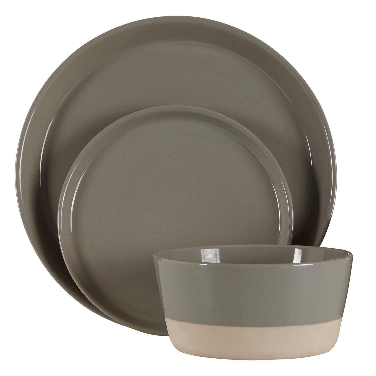 12pcs Middag Grey Glazed Dinner Set