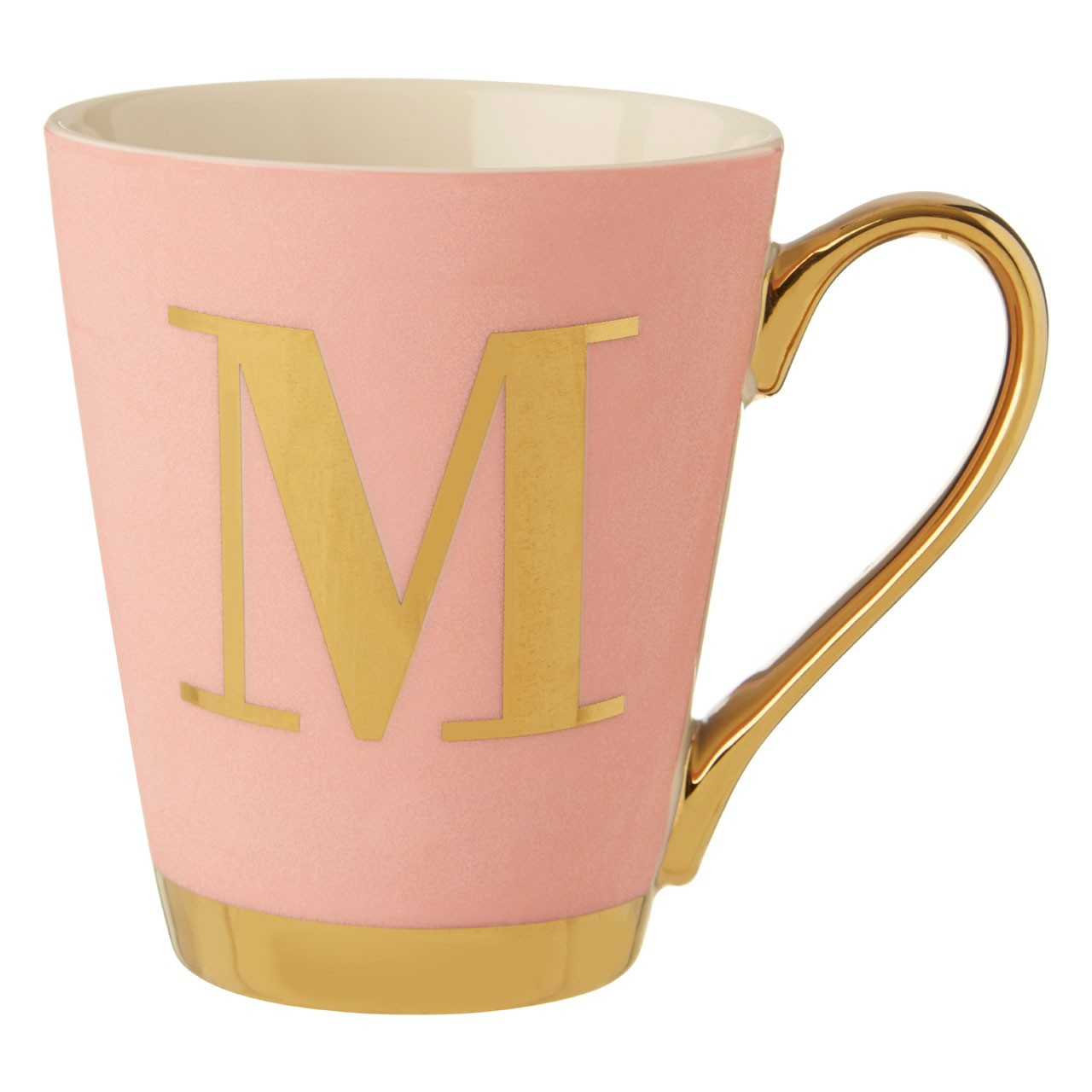 Mimo Pink Frosted Deco M Letter Monogram Mug