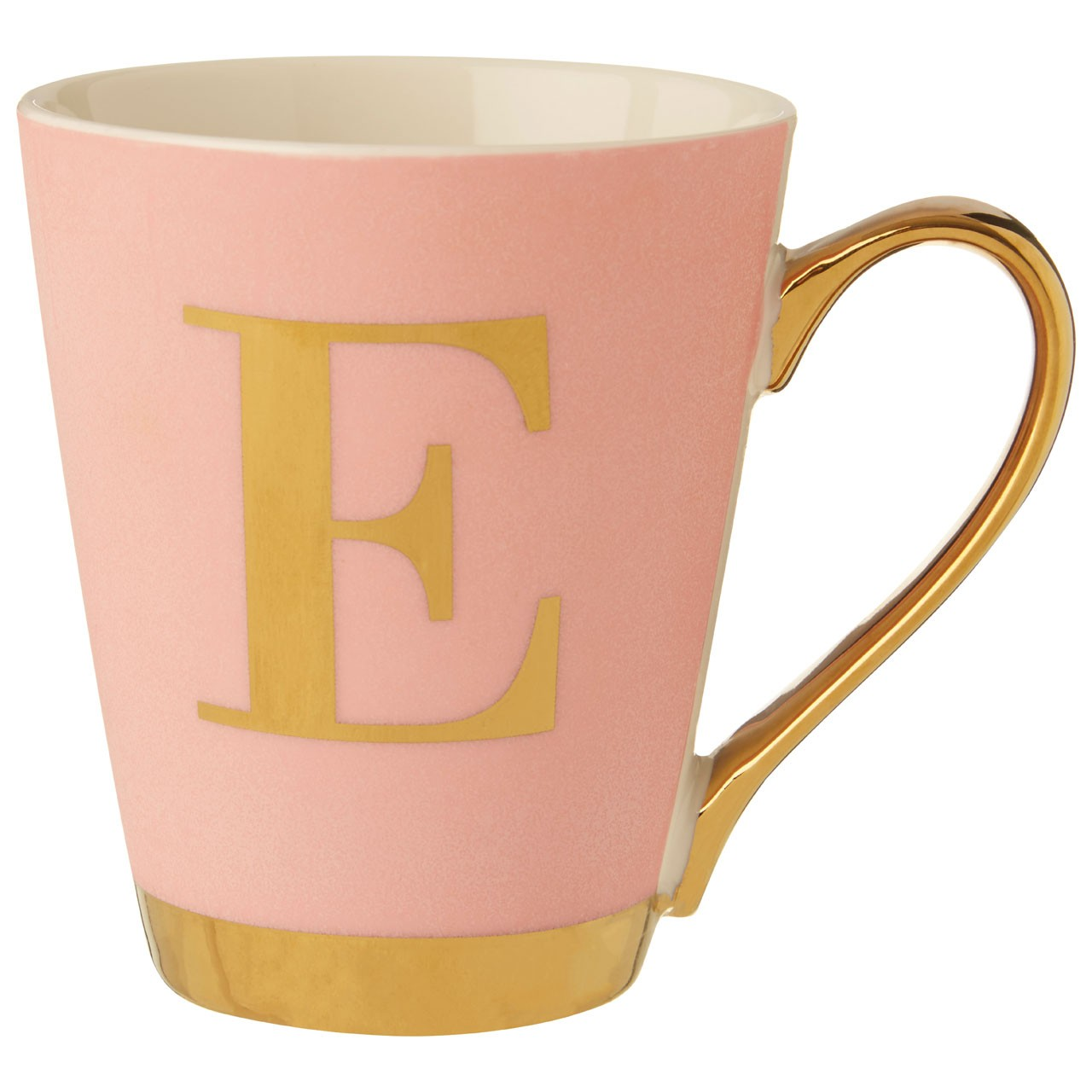 Mimo Pink Frosted Deco E Letter Monogram Mug