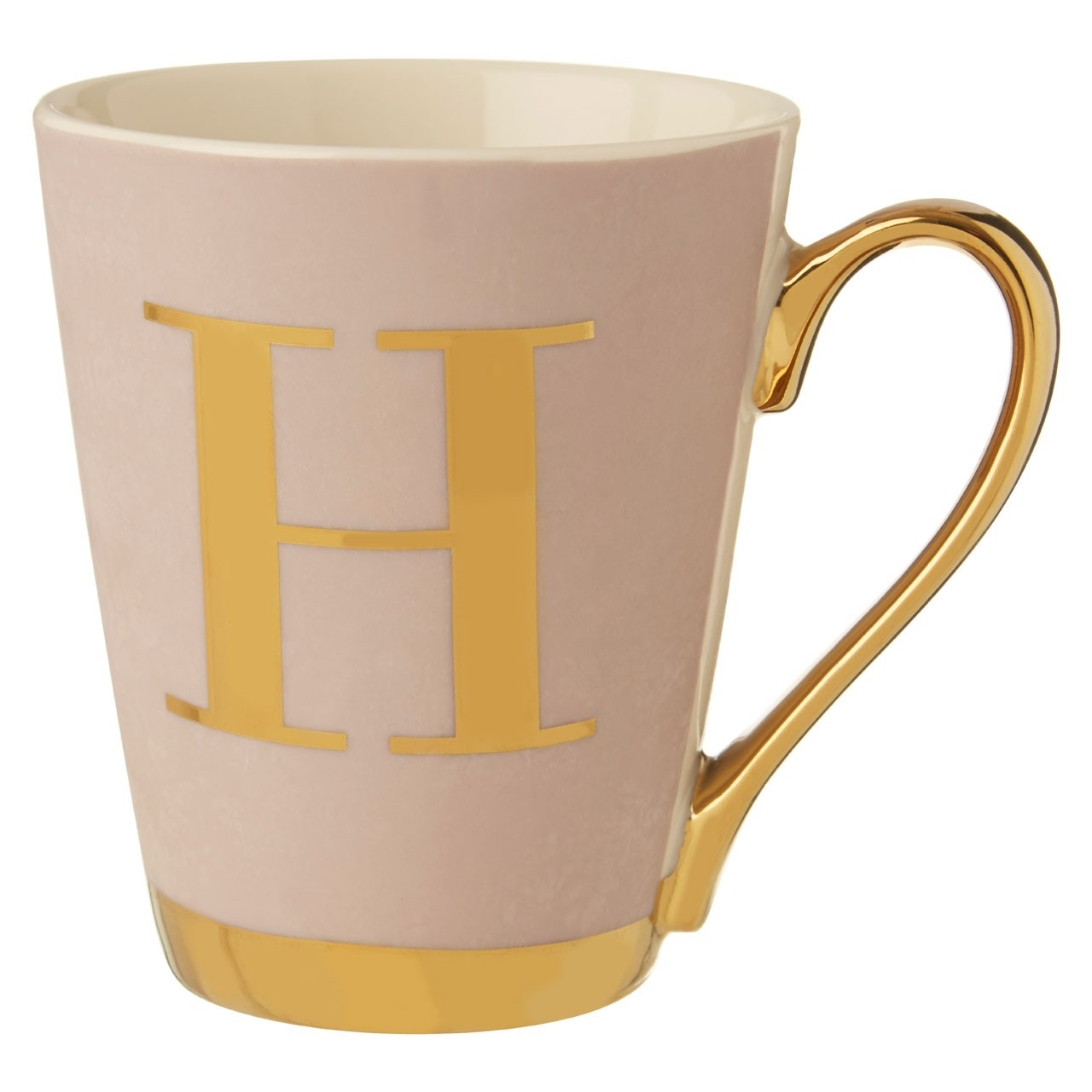 Mimo Grey Frosted Deco H Letter Monogram Mug