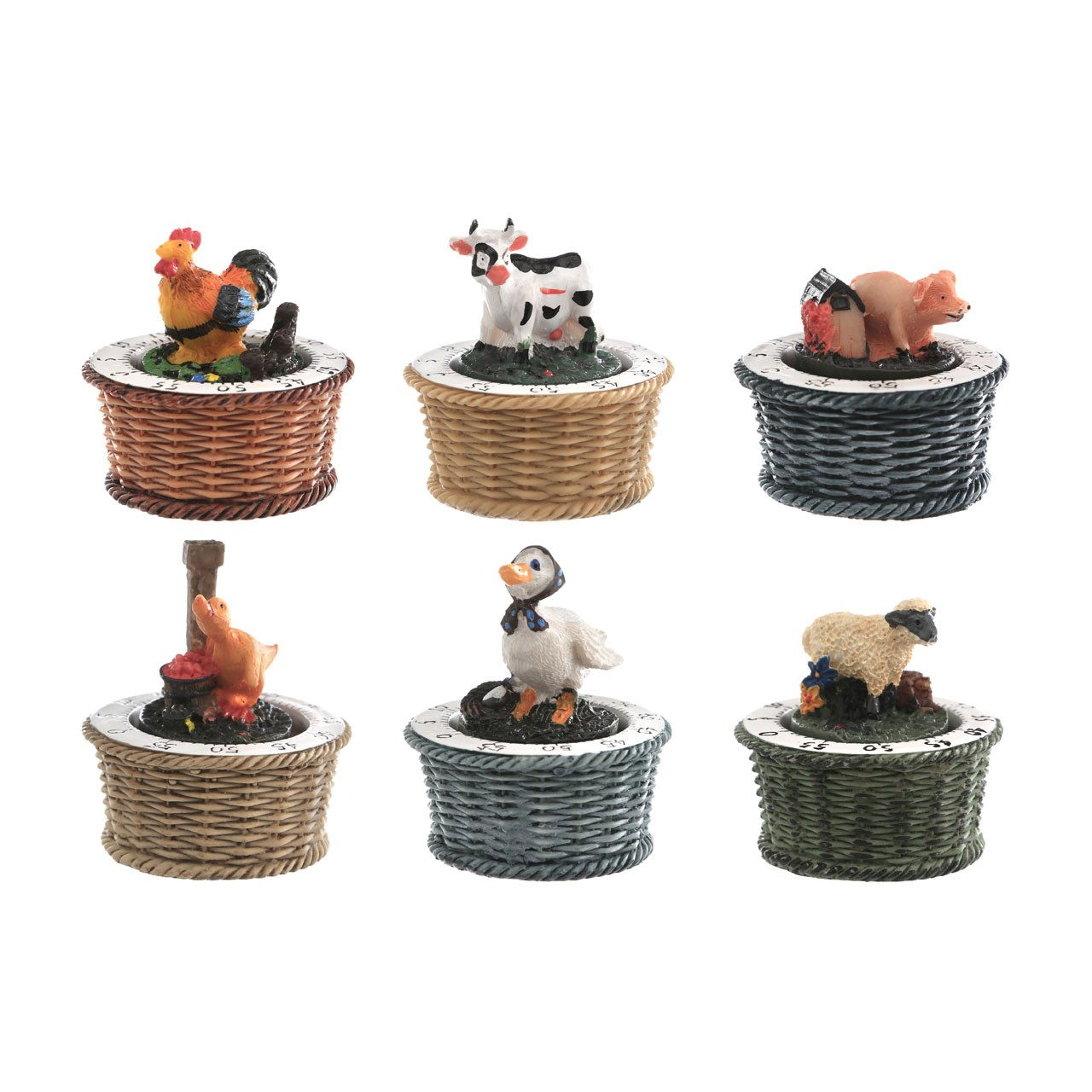 Animal Farm Timer 6 Assorted Polyresin