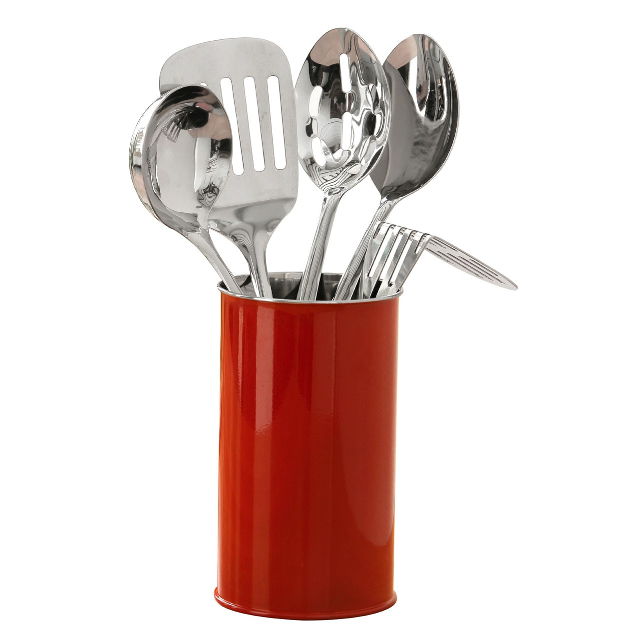 Kitchen Tool Set with Canister, 5 Pieces - Red
