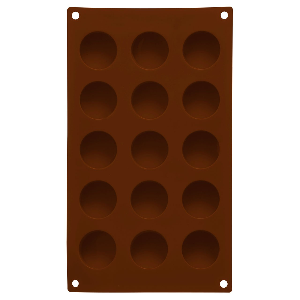 15 Round Chocolate Mould Tray - Brown