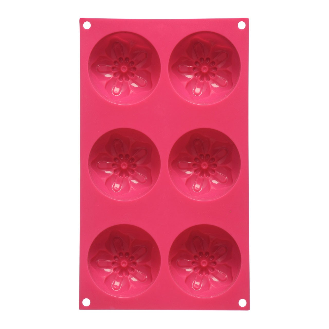 6 Flower Cake Mould Tray - Hot Pink