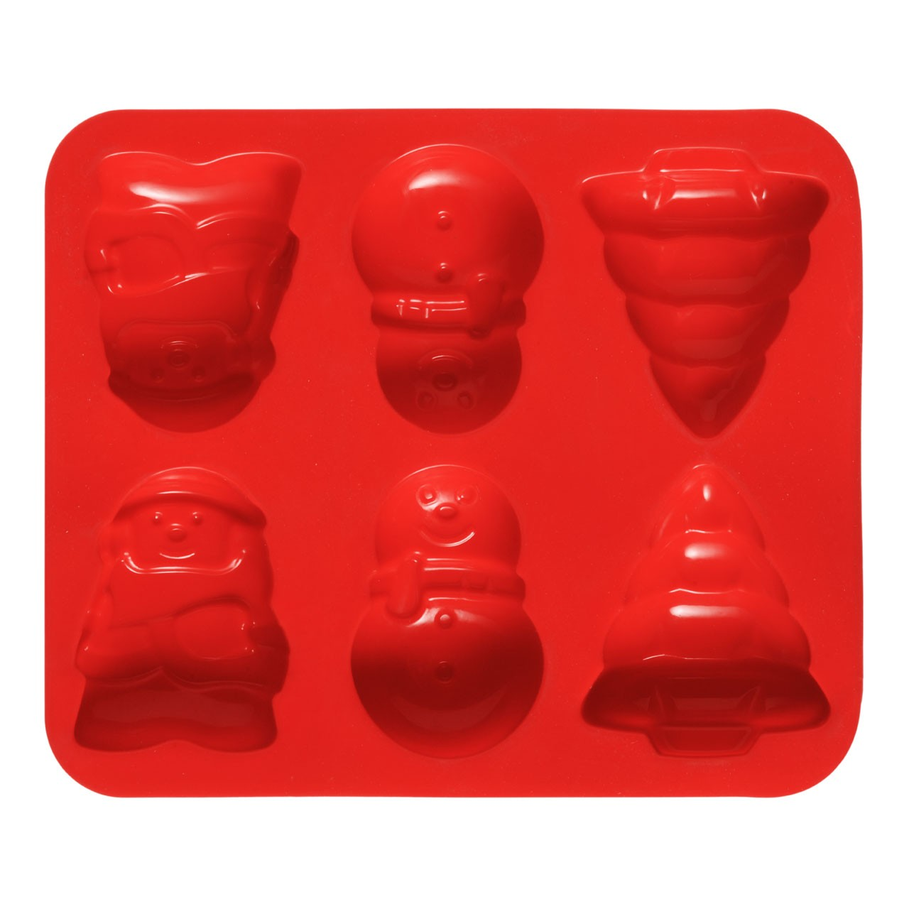 6 Christmas Cake Mould Tray - Red